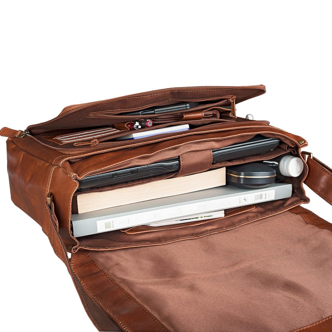 """STILORD """"Nick"""" Umhängetasche Leder Herren Damen Unitasche 15.6 Zoll Laptoptasche Aktentasche Bürotasche Vintage Büffel-Leder - Bild 7"""