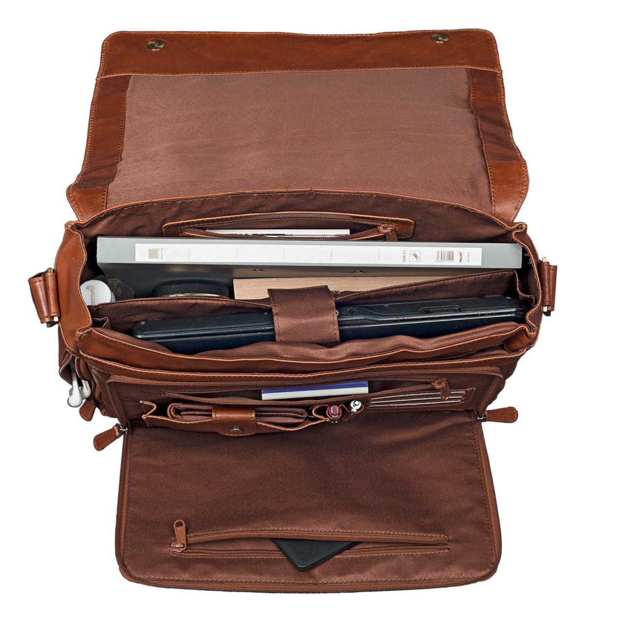"""STILORD """"Nick"""" Umhängetasche Leder Herren Damen Unitasche 15.6 Zoll Laptoptasche Aktentasche Bürotasche Vintage Büffel-Leder - Bild 4"""