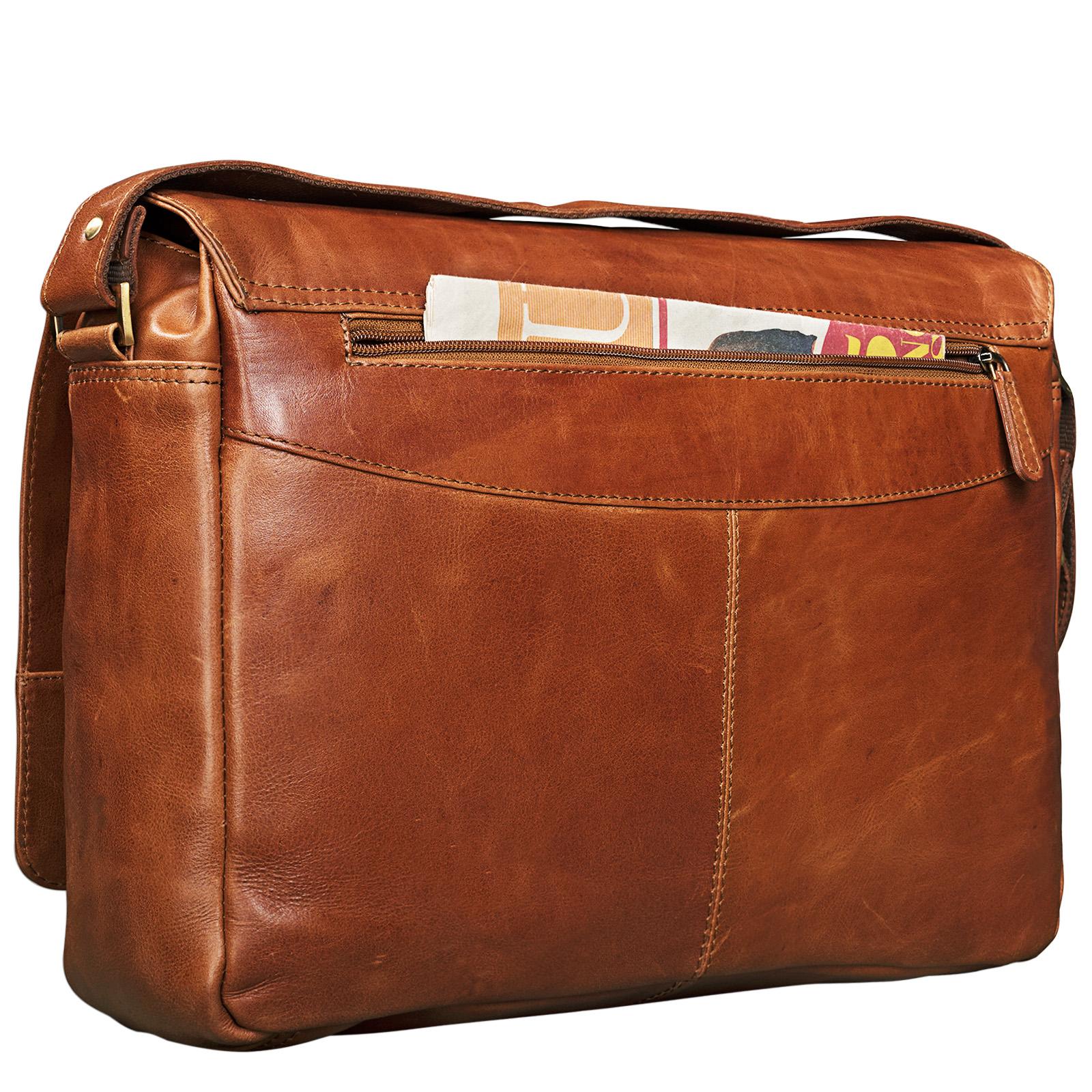 """STILORD """"Nick"""" Umhängetasche Leder Herren Damen Unitasche 15.6 Zoll Laptoptasche Aktentasche Bürotasche Vintage Büffel-Leder - Bild 6"""