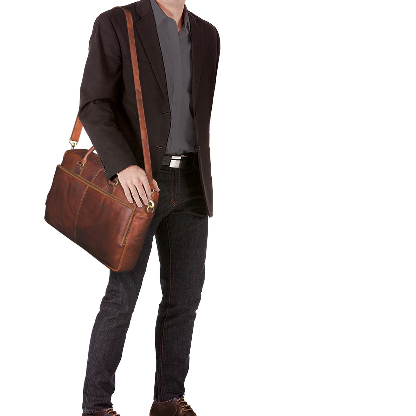 """STILORD """"Aaron"""" Umhängetasche Leder 15,6 Zoll Laptoptasche Aktentasche Bürotasche Unitasche mit Schultergurt Business Vintage - Bild 2"""