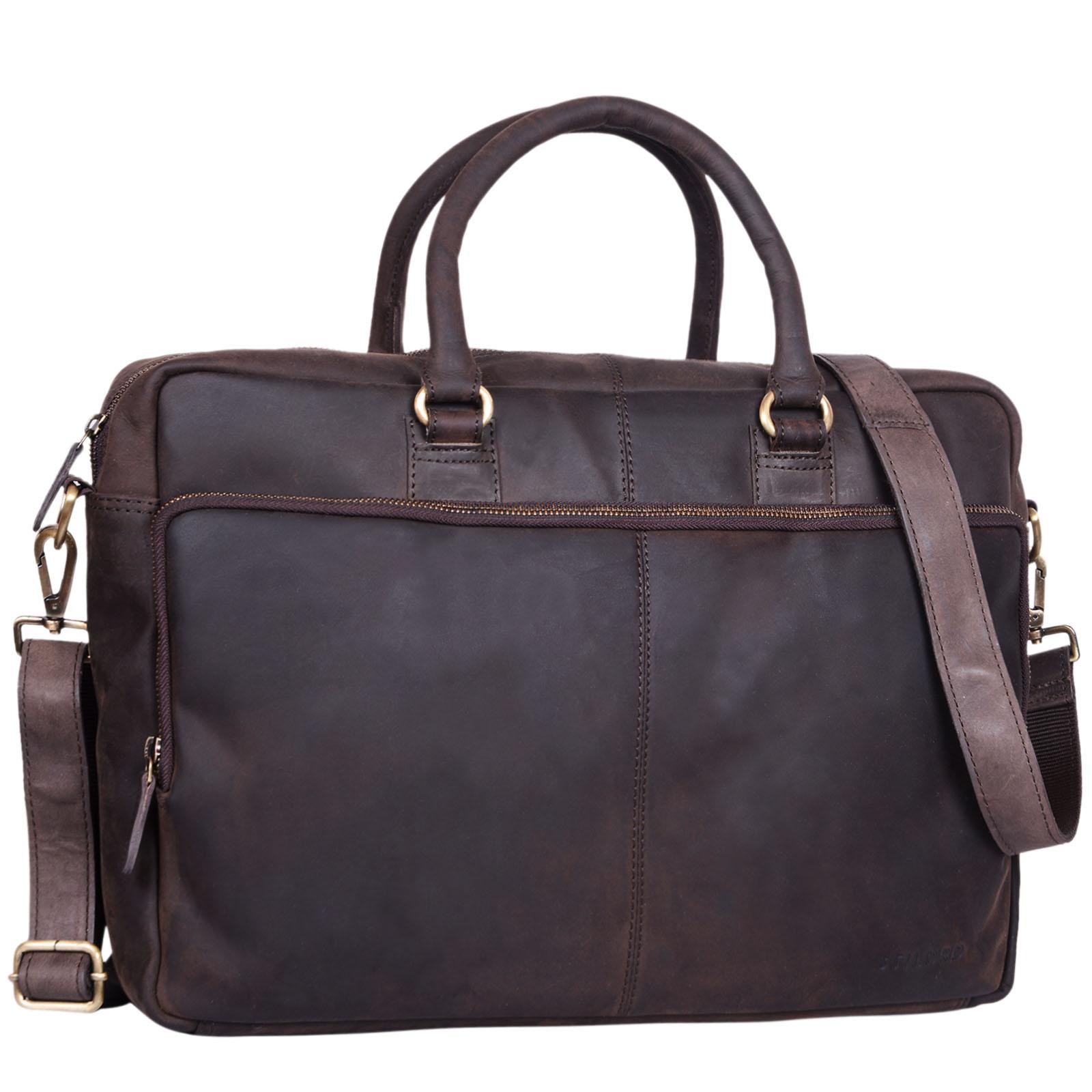 """STILORD """"Aaron"""" Umhängetasche Leder 15,6 Zoll Laptoptasche Aktentasche Bürotasche Unitasche mit Schultergurt Business Vintage - Bild 12"""