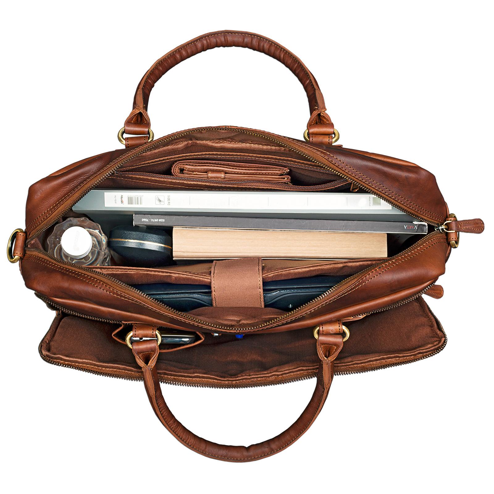 """STILORD """"Aaron"""" Umhängetasche Leder 15,6 Zoll Laptoptasche Aktentasche Bürotasche Unitasche mit Schultergurt Business Vintage - Bild 4"""