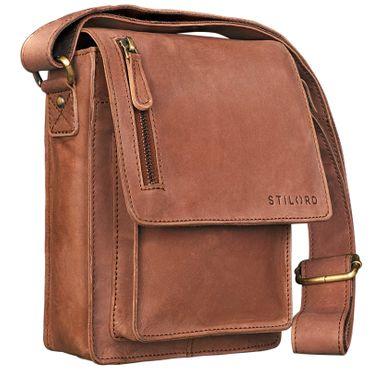 """STILORD """"Finn"""" kleine Umhängetasche Herren Schultertasche Vintage Messenger Bag 8,4 Zoll Tablettasche echtes Büffel-Leder"""