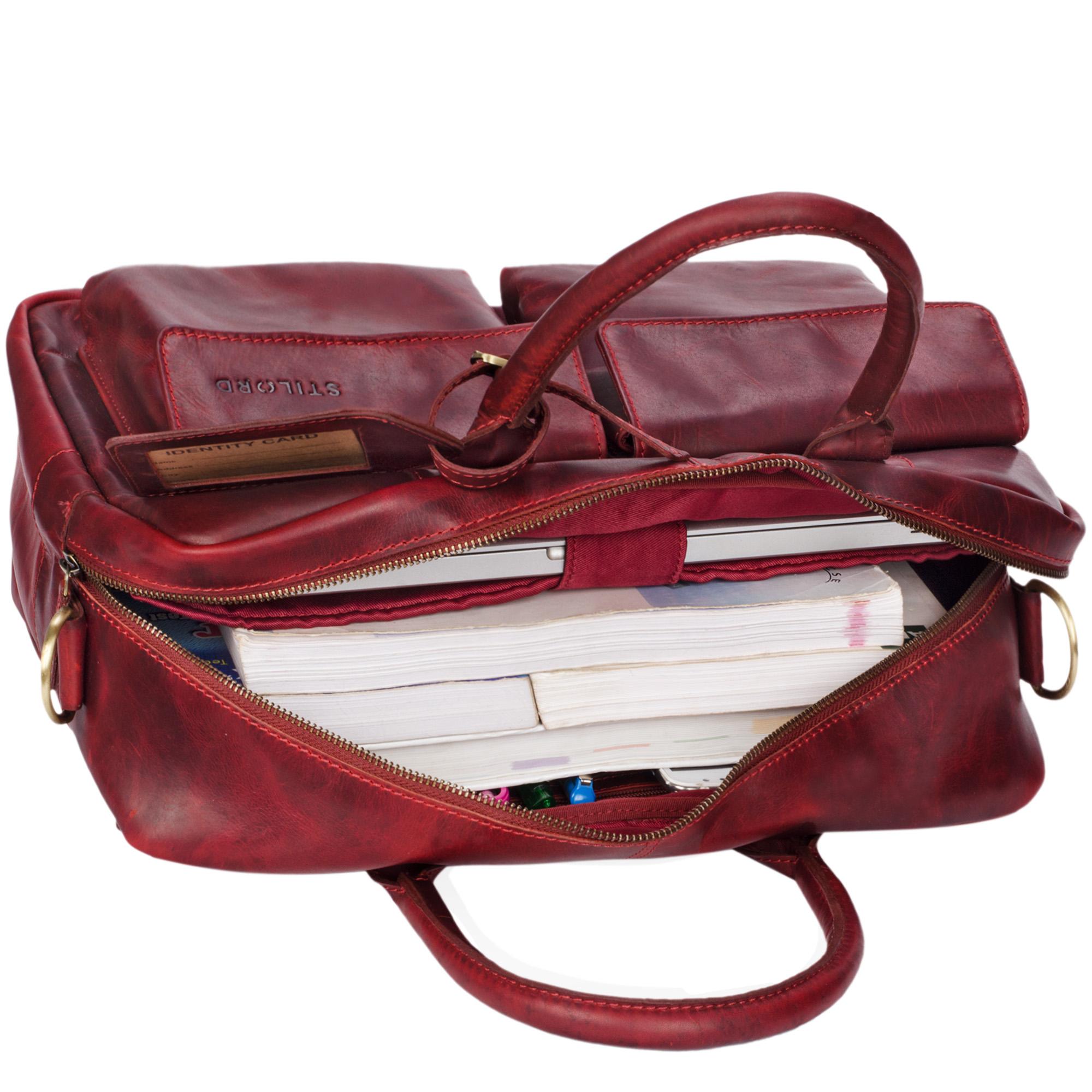 """STILORD """"Carlo"""" Große Umhängetasche Leder Lehrertasche Aktentasche Schultertasche Reise Beruf Freizeit 15,6 Zoll Laptop College Bag Arbeit Büro - Bild 16"""