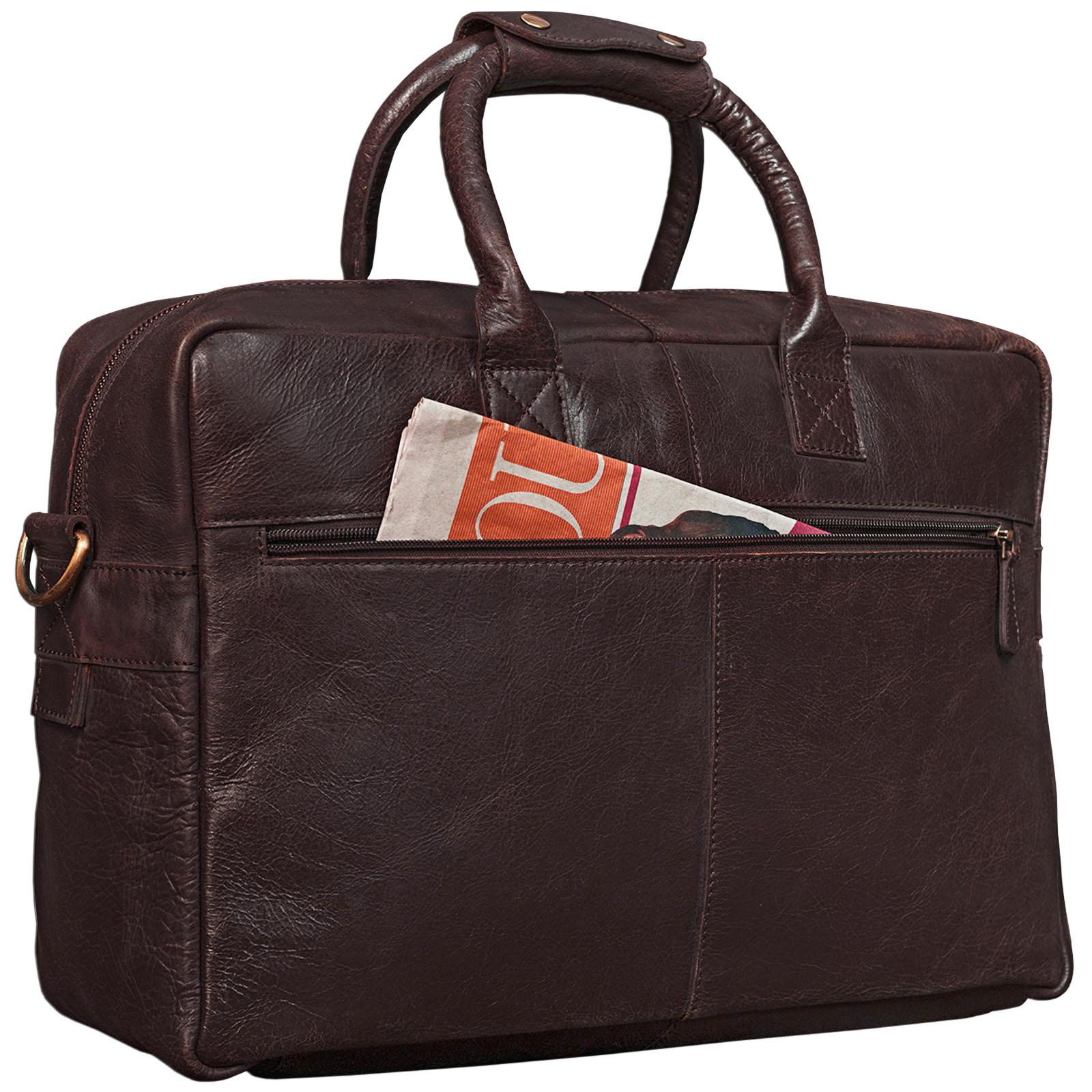 """STILORD """"Henri"""" Bürotasche Leder 15,6 Zoll Vintage Laptop Aktentasche Businesstasche Umhängetasche Lehrertasche Büffelleder - Bild 11"""