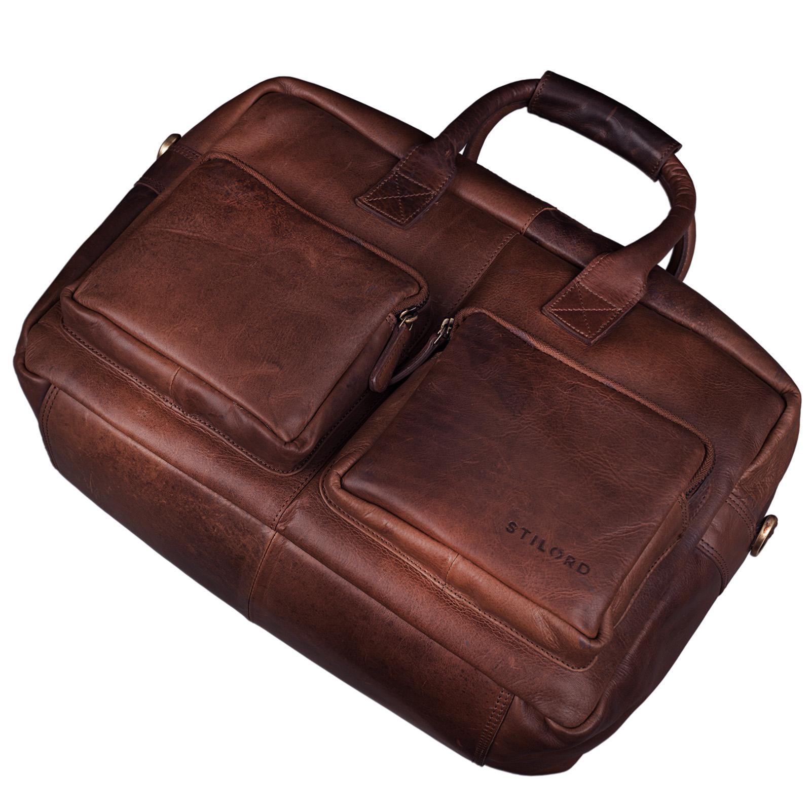 """STILORD """"Henri"""" Bürotasche Leder 15,6 Zoll Vintage Laptop Aktentasche Businesstasche Umhängetasche Lehrertasche Büffelleder - Bild 5"""