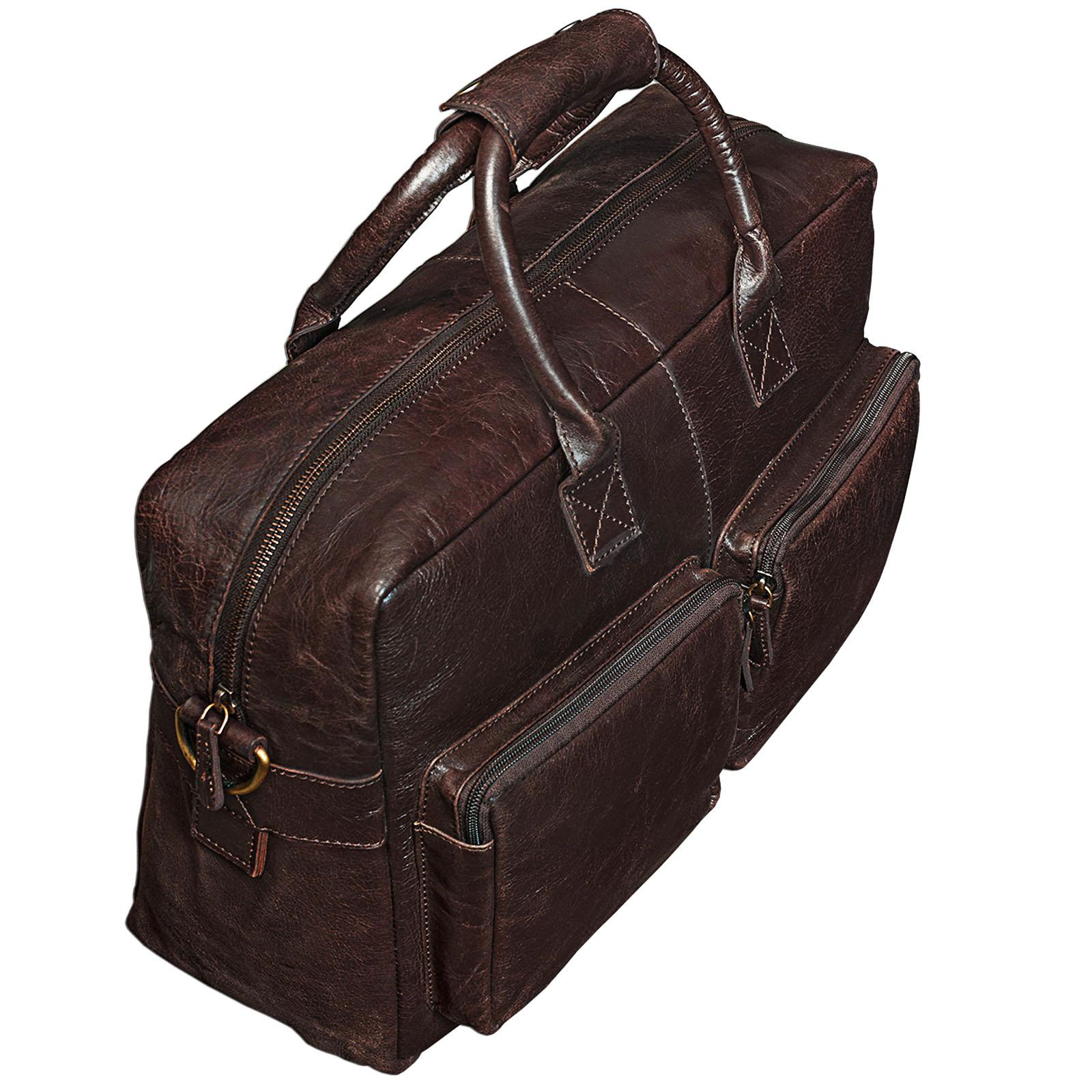 """STILORD """"Henri"""" Bürotasche Leder 15,6 Zoll Vintage Laptop Aktentasche Businesstasche Umhängetasche Lehrertasche Büffelleder - Bild 13"""