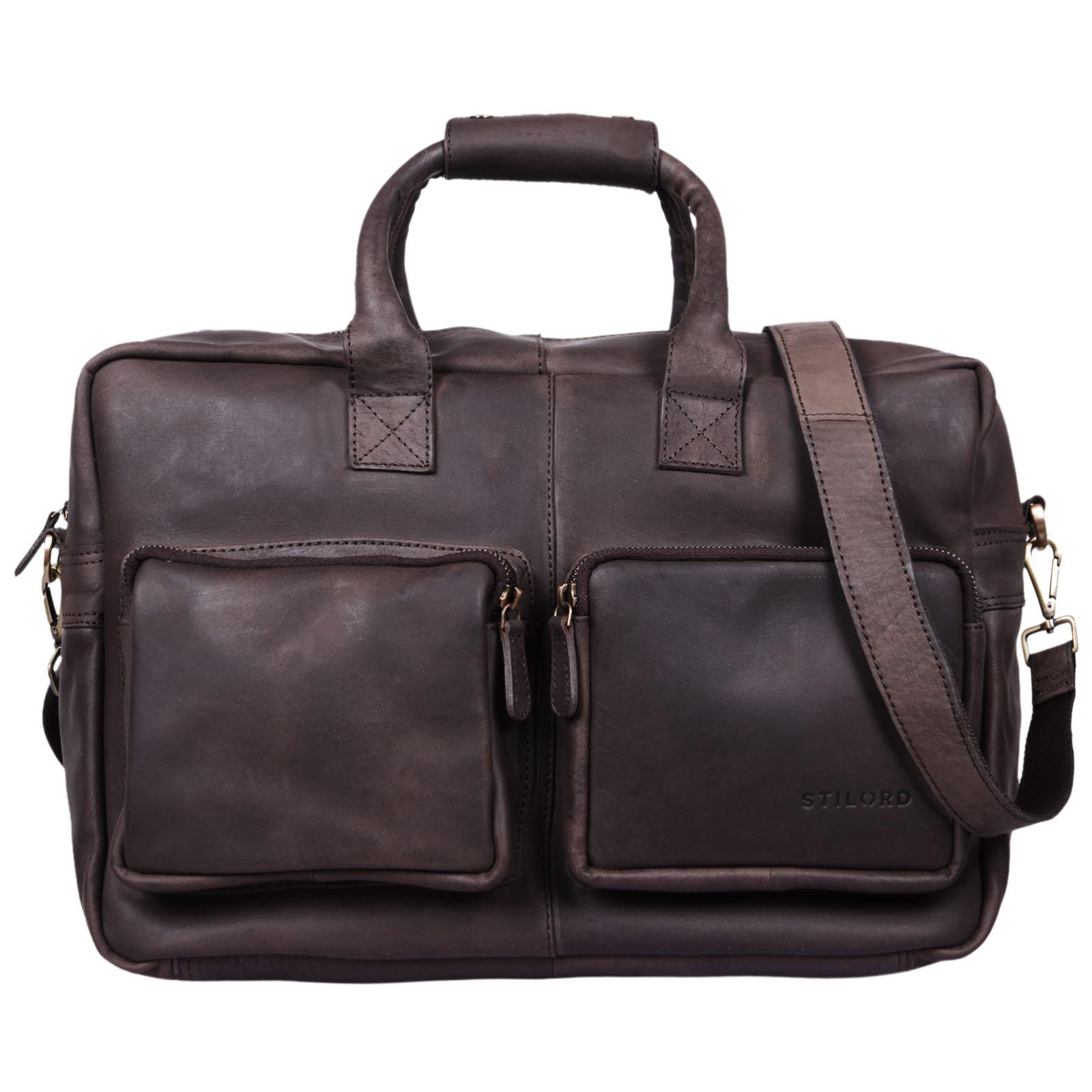 """STILORD """"Henri"""" Bürotasche Leder 15,6 Zoll Vintage Laptop Aktentasche Businesstasche Umhängetasche Lehrertasche Büffelleder - Bild 14"""