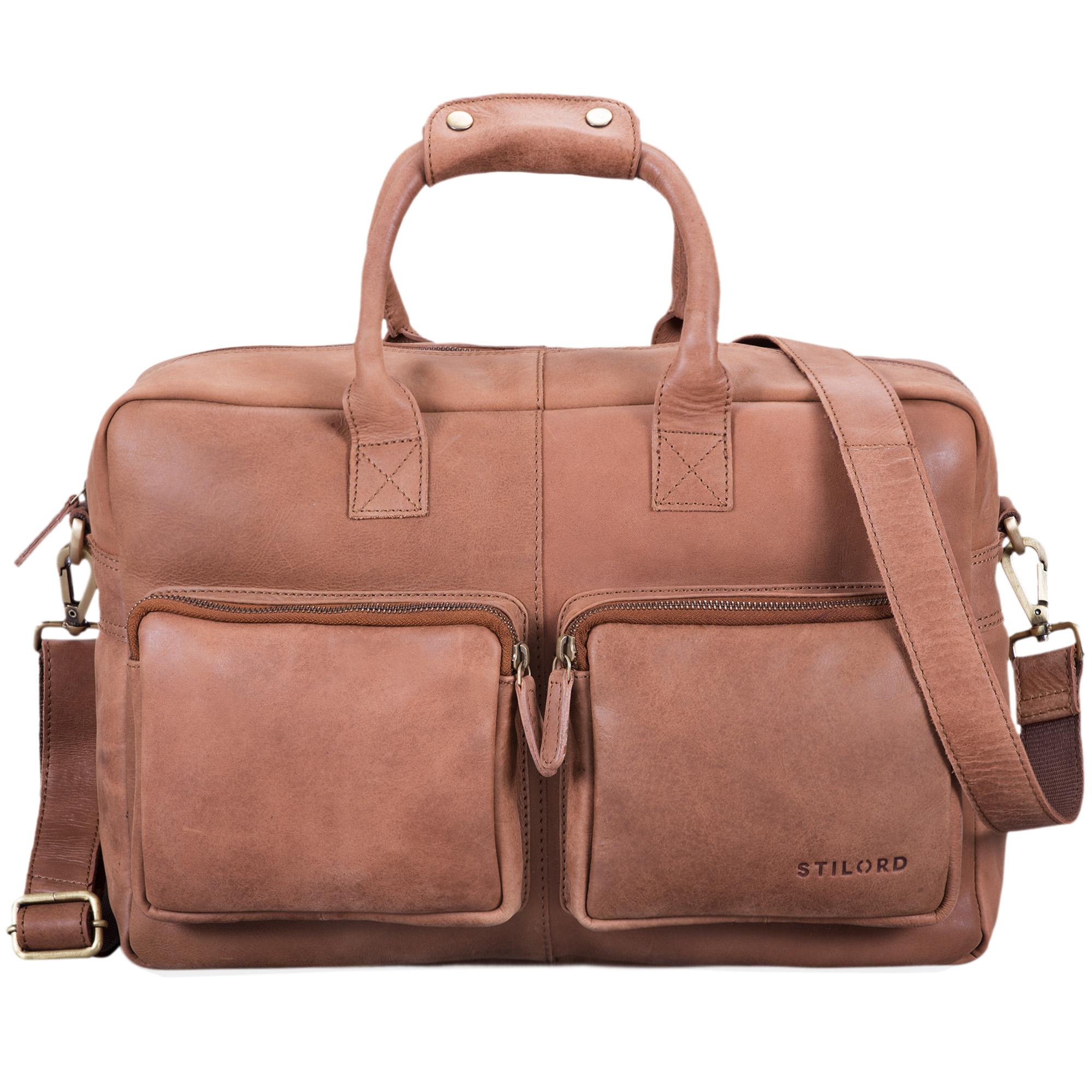 """STILORD """"Henri"""" Bürotasche Leder 15,6 Zoll Vintage Laptop Aktentasche Businesstasche Umhängetasche Lehrertasche Büffelleder - Bild 21"""