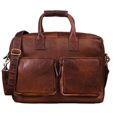 """STILORD """"Henri"""" Bürotasche Leder 15,6 Zoll Vintage Laptop Aktentasche Businesstasche Umhängetasche Lehrertasche Büffelleder"""