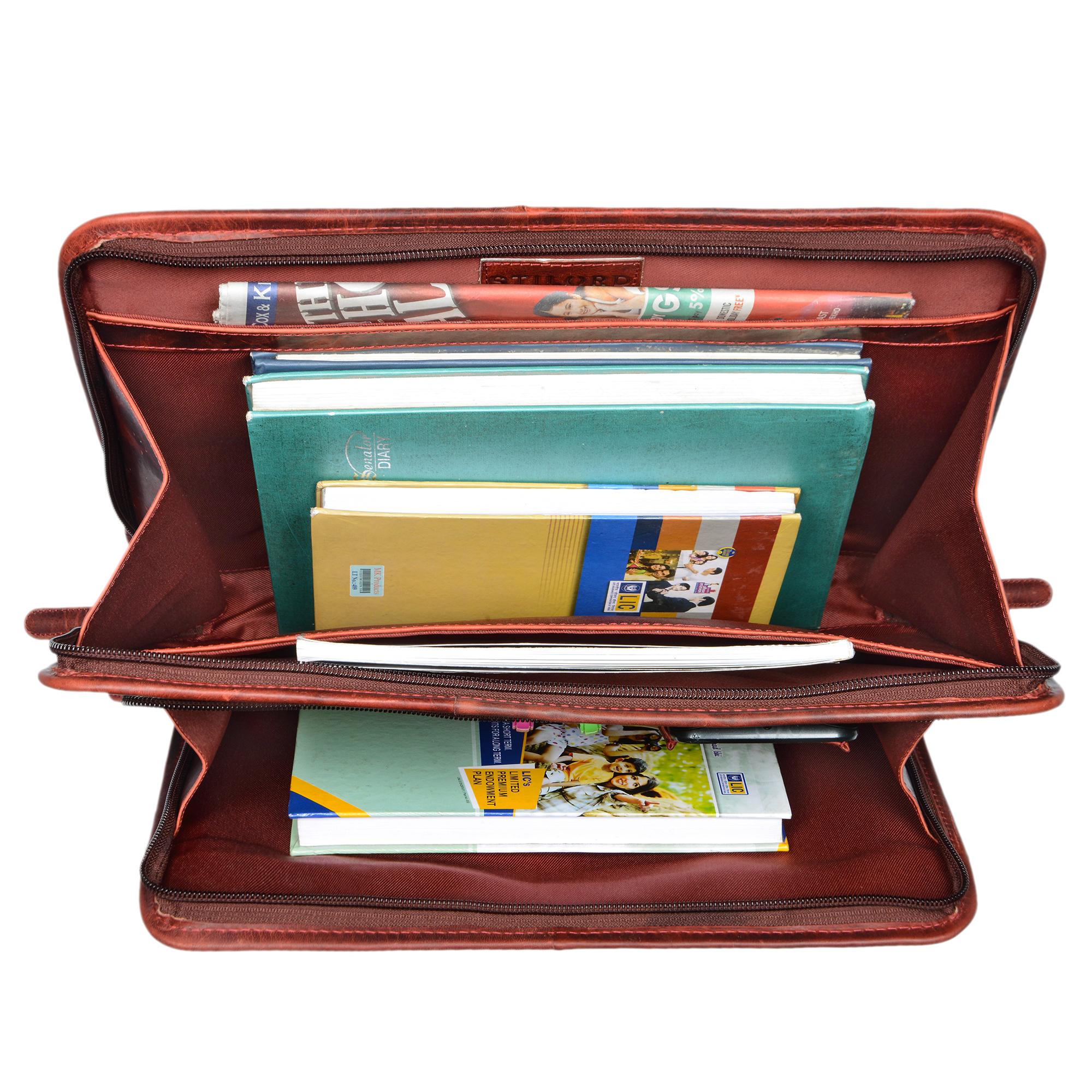 "STILORD ""Maximilian"" Dokumentenmappe Leder 13,3 Zoll Vintage Schreibmappe MacBook Aktentasche Aktenmappe - Bild 25"