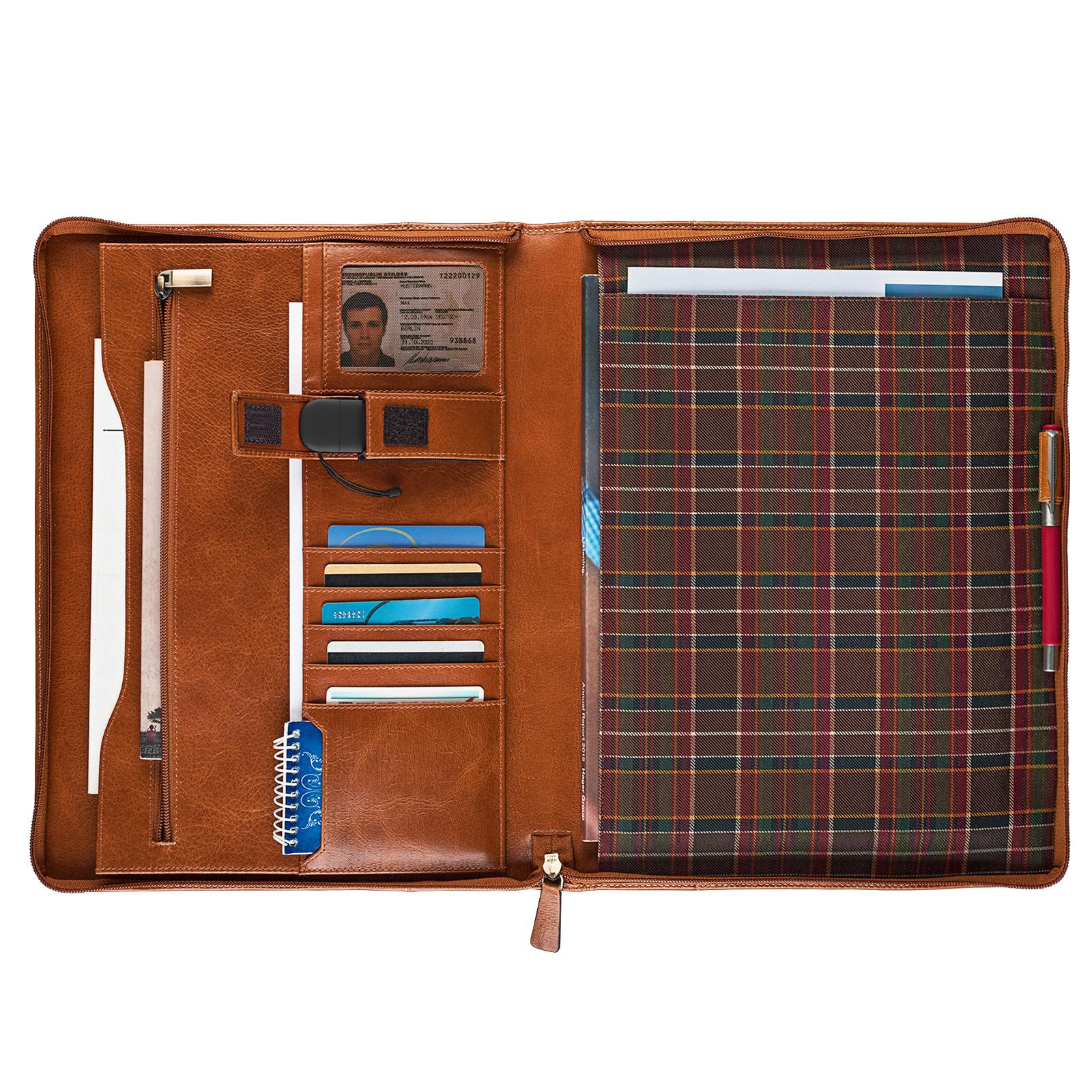 """STILORD """"Justus"""" Aktenmappe Leder mit Griff MacBooktasche 13,3 Zoll Schreibmappe Konferenzmappe Aktentasche Dokumentenmappe mit Henkel echtes Leder - Bild 4"""