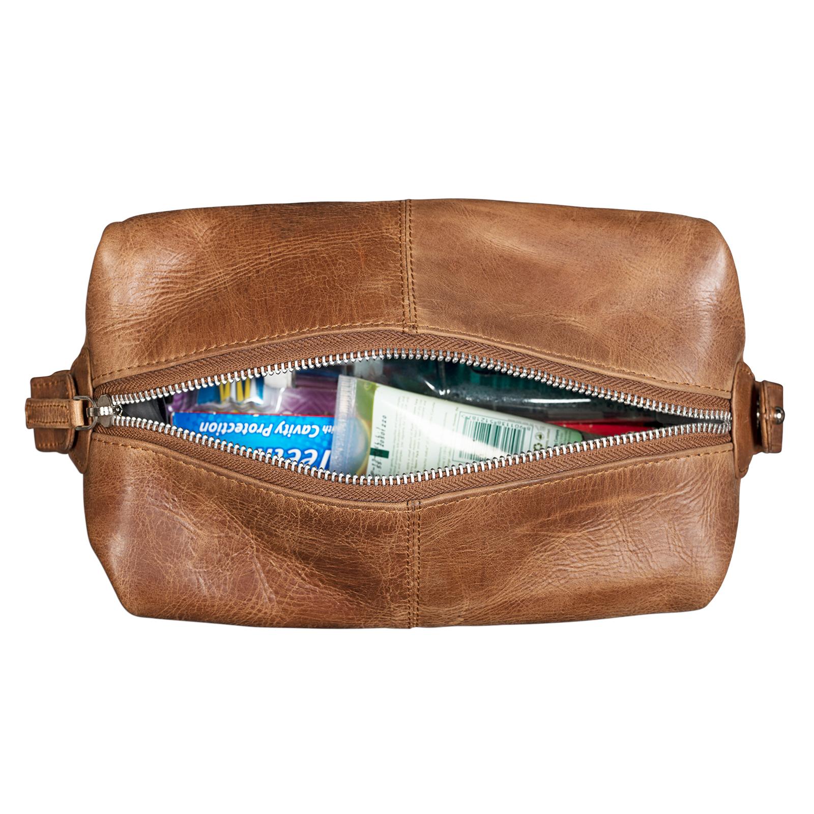 Kulturtasche groß Leder