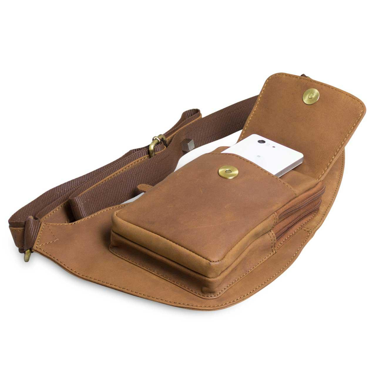 STILORD 'Adrian' Brusttasche Bauchtasche Rucksack Umhängetasche Kameratasche Schultertasche Reise Ledertasche Damen Herren echtes Leder braun