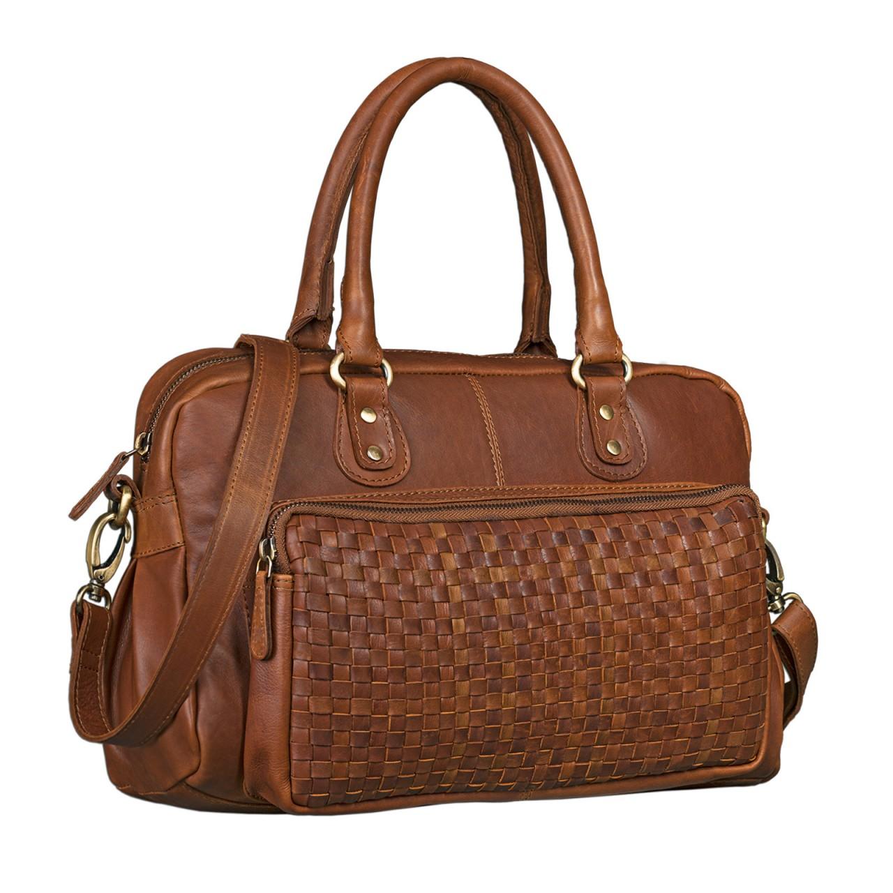 cfa86fbedbeca Vintage Damen Handtasche Umhängetasche geflochtenes Leder