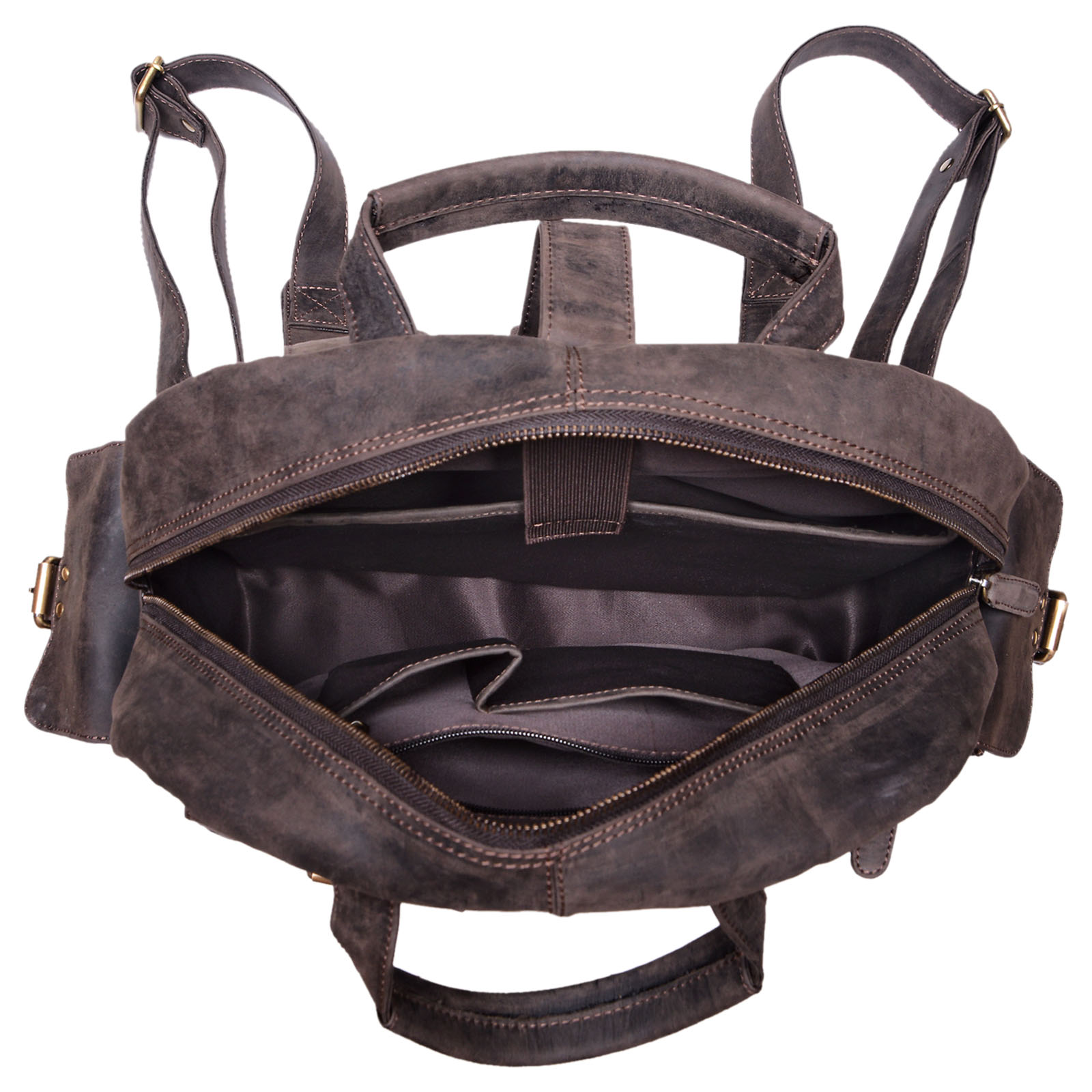 "STILORD ""Nevada"" Rucksack Leder groß im Vintage Design mit 13,3 Zoll Laptopfach Unisex Lederrucksack Uni Schule Lehrer Echtleder  - Bild 10"