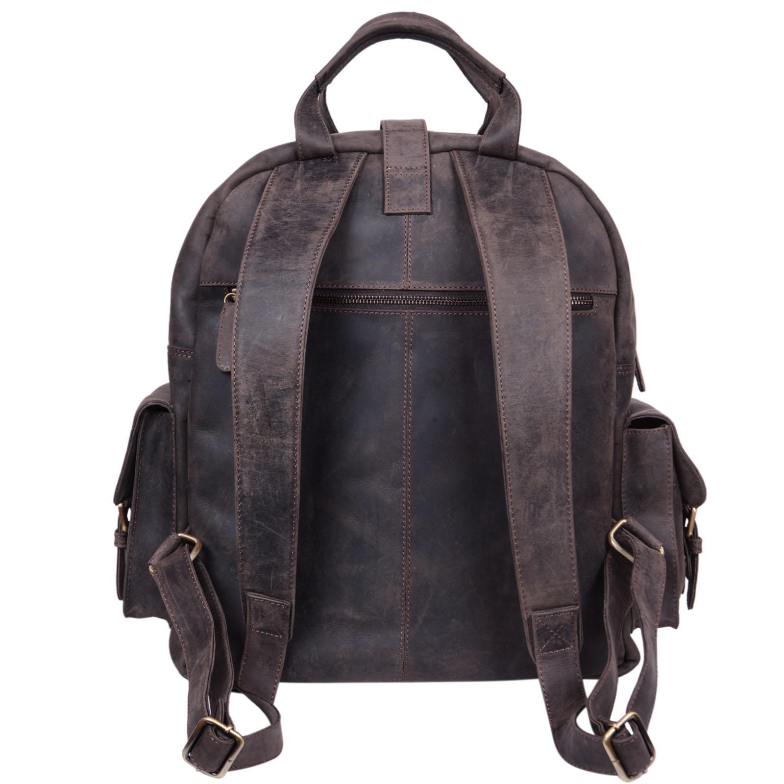 "STILORD ""Nevada"" Rucksack Leder groß im Vintage Design mit 13,3 Zoll Laptopfach Unisex Lederrucksack Uni Schule Lehrer Echtleder  - Bild 12"
