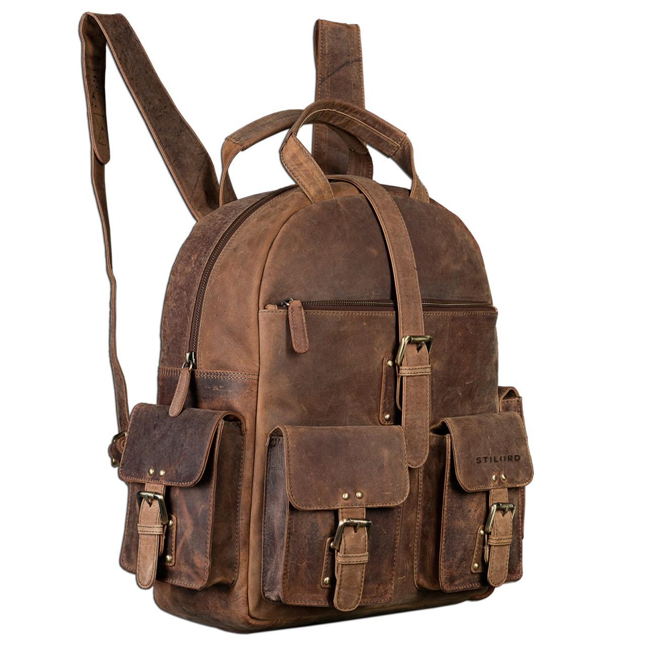 "STILORD ""Nevada"" Rucksack Leder groß im Vintage Design mit 13,3 Zoll Laptopfach Unisex Lederrucksack Uni Schule Lehrer Echtleder  - Bild 2"