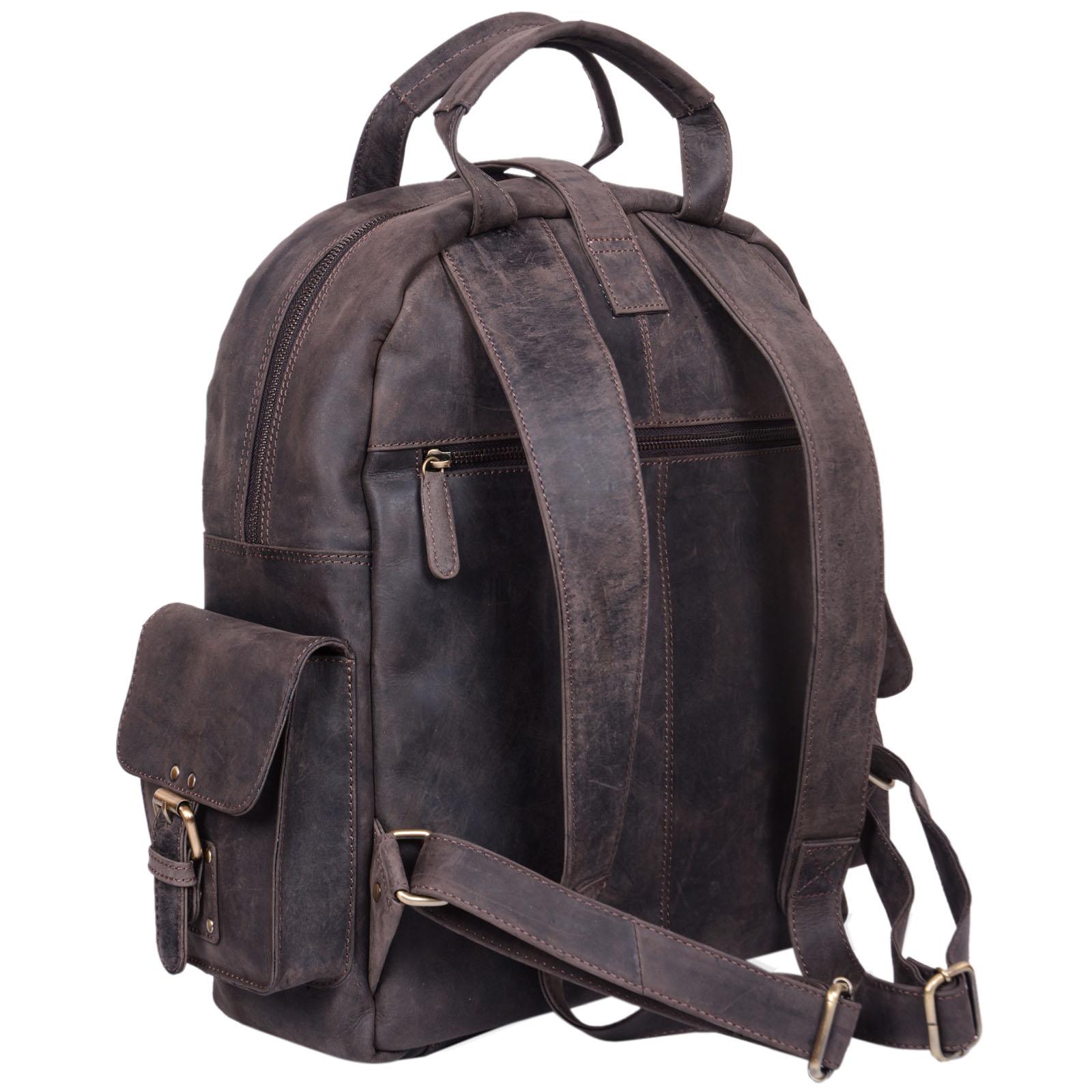 "STILORD ""Nevada"" Rucksack Leder groß im Vintage Design mit 13,3 Zoll Laptopfach Unisex Lederrucksack Uni Schule Lehrer Echtleder  - Bild 14"