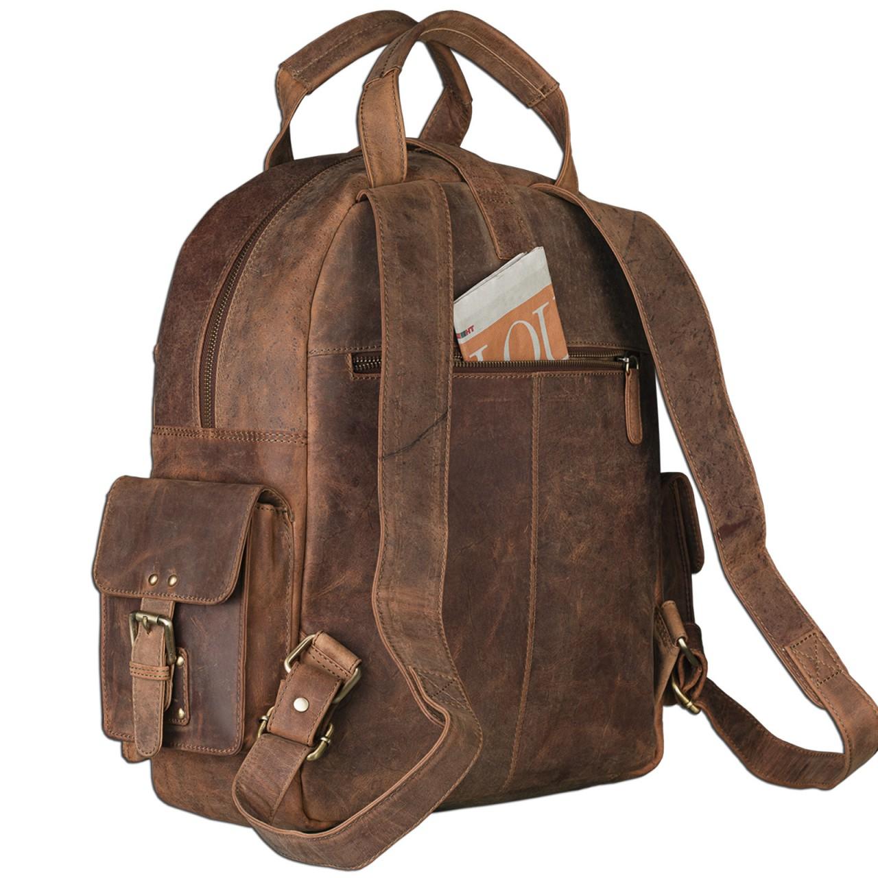 "STILORD ""Nevada"" Rucksack Leder groß im Vintage Design mit 13,3 Zoll Laptopfach Unisex Lederrucksack Uni Schule Lehrer Echtleder  - Bild 7"