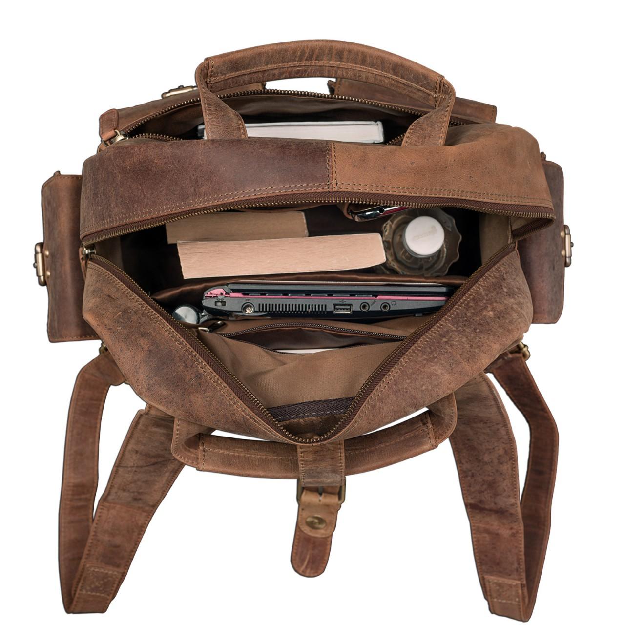 "STILORD ""Nevada"" Rucksack Leder groß im Vintage Design mit 13,3 Zoll Laptopfach Unisex Lederrucksack Uni Schule Lehrer Echtleder  - Bild 6"
