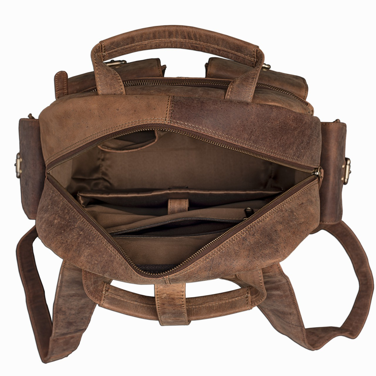 "STILORD ""Nevada"" Rucksack Leder groß im Vintage Design mit 13,3 Zoll Laptopfach Unisex Lederrucksack Uni Schule Lehrer Echtleder  - Bild 5"