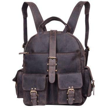 "STILORD ""Nevada"" Rucksack Leder groß im Vintage Design mit 13,3 Zoll Laptopfach Unisex Lederrucksack Uni Schule Lehrer Echtleder  Farbe: dunkel - braun"