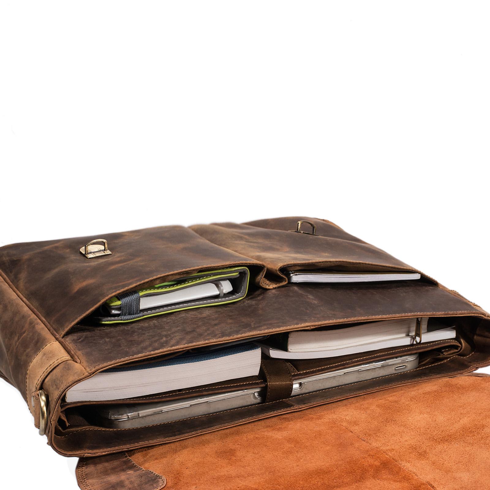 """STILORD """"Georg"""" Aktentasche Leder Vintage Dokumententasche Lehrertasche Business Büro für große Aktenordner 15,6 Zoll Laptopfach echtes Rindsleder - Bild 6"""