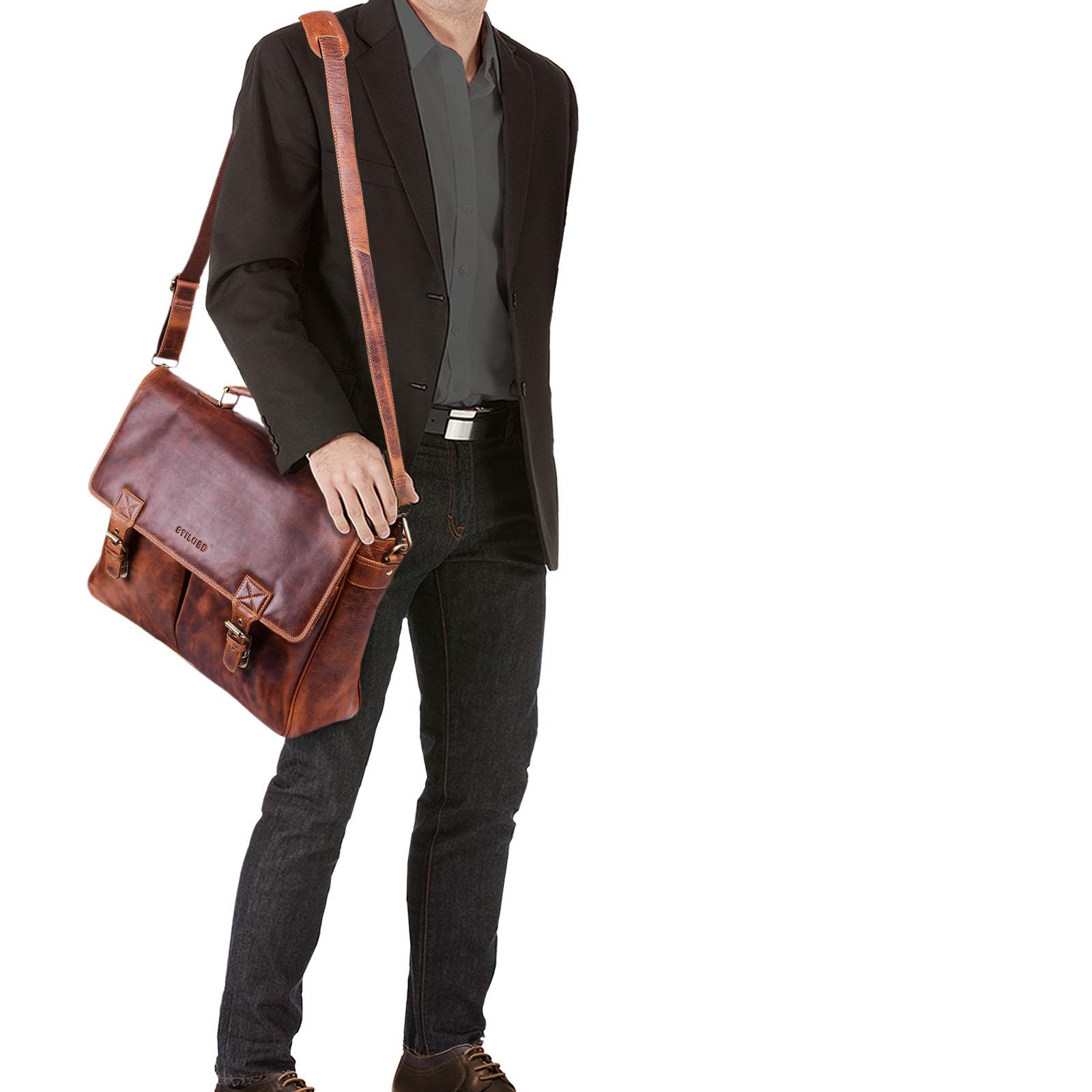 """STILORD """"Georg"""" Aktentasche Leder Vintage Dokumententasche Lehrertasche Business Büro für große Aktenordner 15,6 Zoll Laptopfach echtes Rindsleder - Bild 14"""