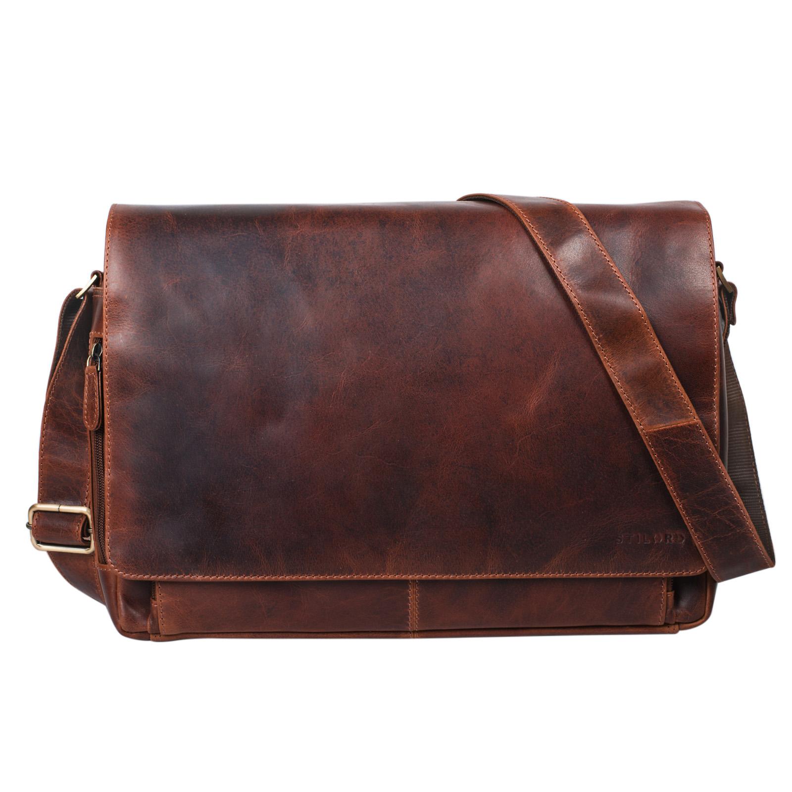 """STILORD """"Tom"""" Vintage Leder Umhängetasche für Studium Uni Büro Arbeit 15 Zoll Laptoptasche DIN A4 Schultertasche Echtleder - Bild 3"""