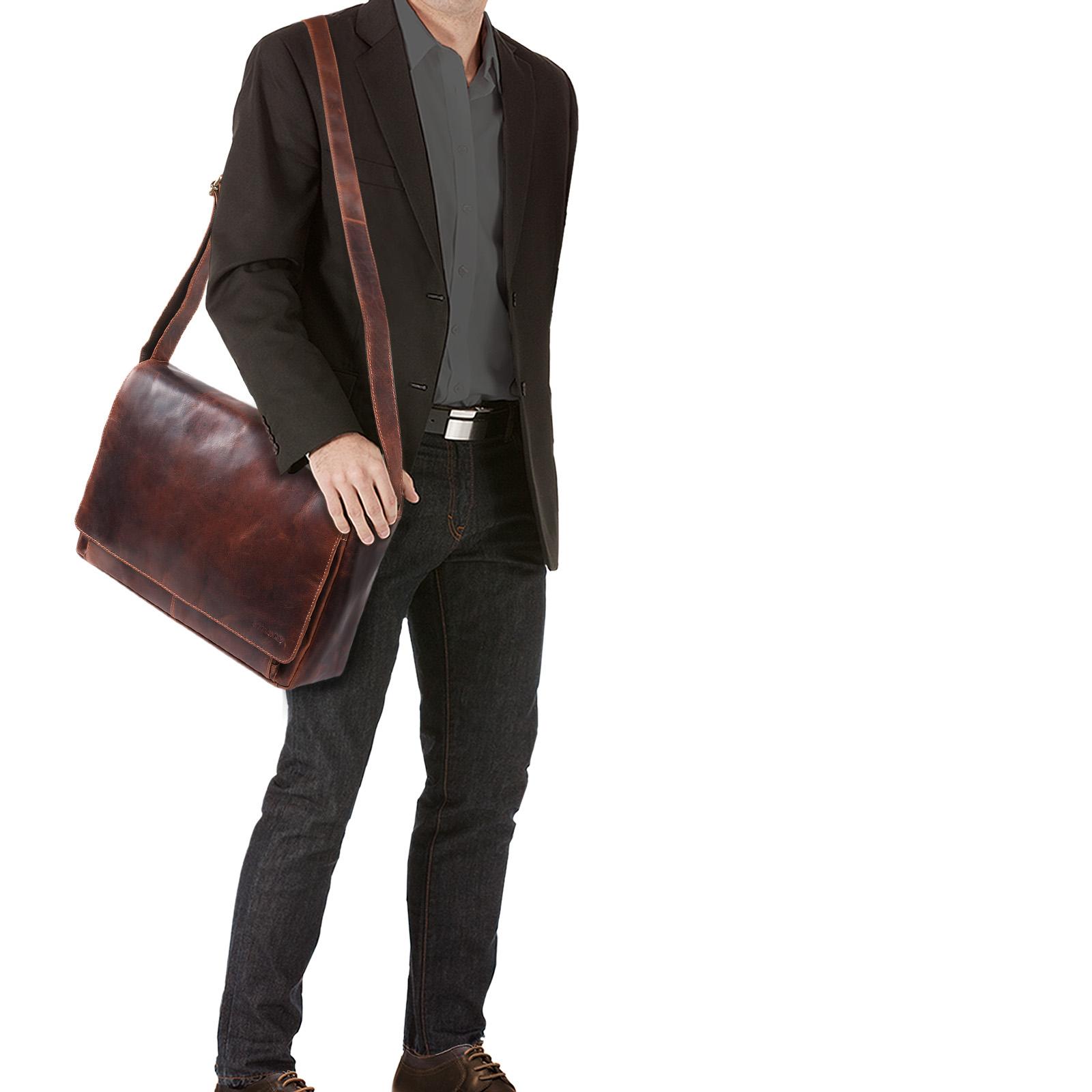 """STILORD """"Tom"""" Vintage Leder Umhängetasche für Studium Uni Büro Arbeit 15 Zoll Laptoptasche DIN A4 Schultertasche Echtleder - Bild 2"""
