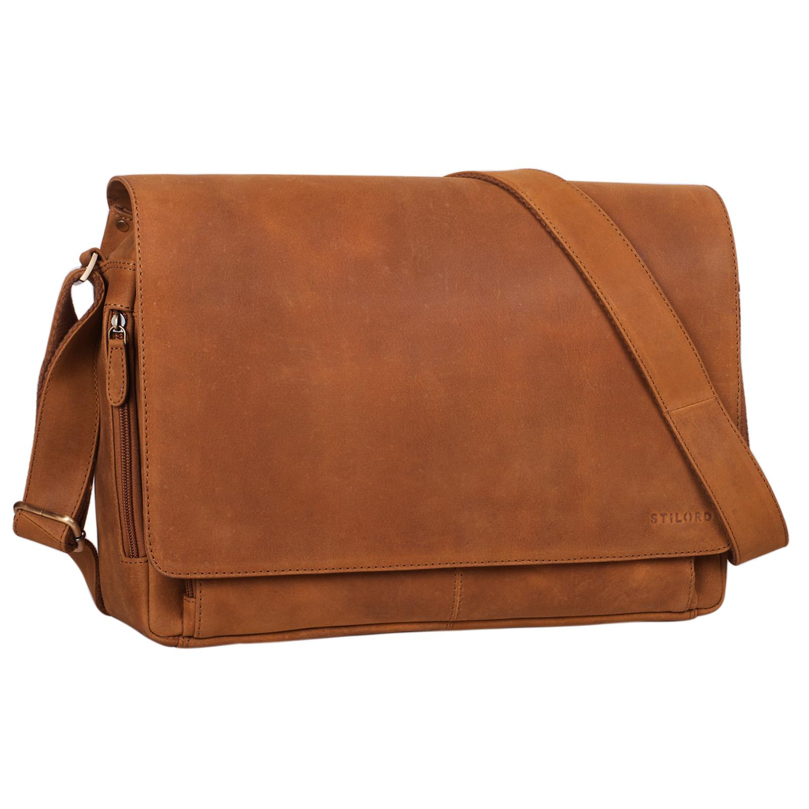 """STILORD """"Tom"""" Vintage Leder Umhängetasche für Studium Uni Büro Arbeit 15 Zoll Laptoptasche DIN A4 Schultertasche Echtleder - Bild 10"""