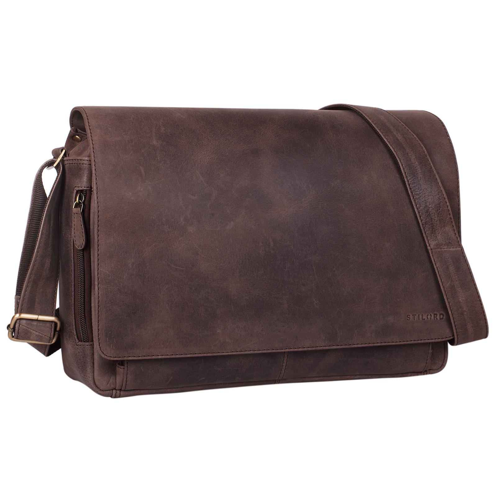 """STILORD """"Tom"""" Vintage Leder Umhängetasche für Studium Uni Büro Arbeit 15 Zoll Laptoptasche DIN A4 Schultertasche Echtleder - Bild 8"""