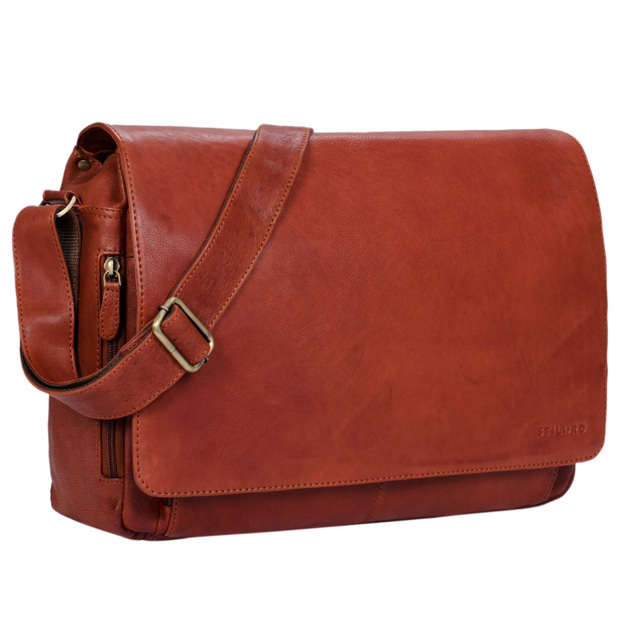 """STILORD """"Tom"""" Vintage Leder Umhängetasche für Studium Uni Büro Arbeit 15 Zoll Laptoptasche DIN A4 Schultertasche Echtleder - Bild 12"""