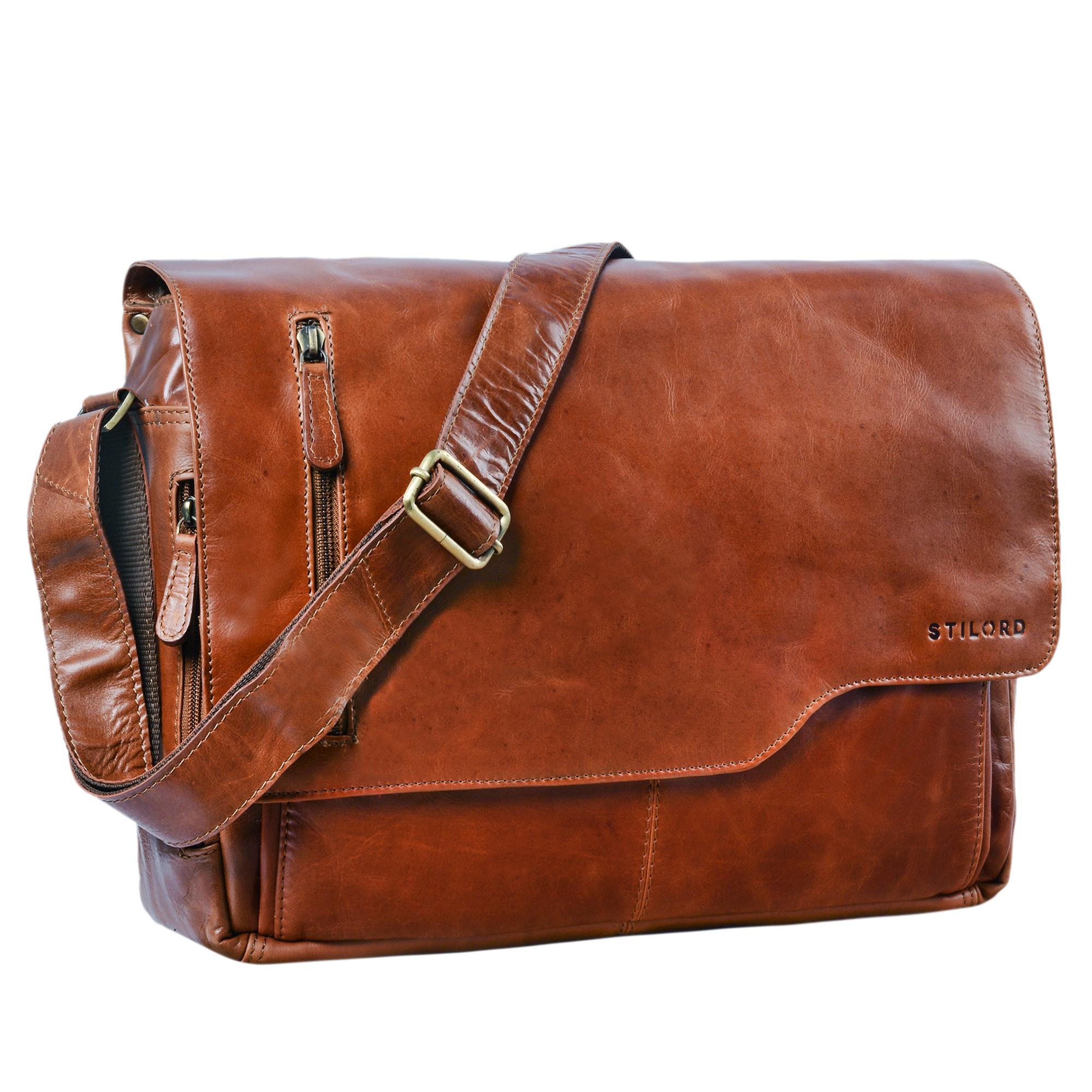 """STILORD """"Marlon"""" Ledertasche Herren Business Uni Büro Vintage Umhängetasche groß DIN A4 mit 15.6 Zoll Laptopfach elegante Aktentasche aus echtem Rinds Leder - Bild 9"""