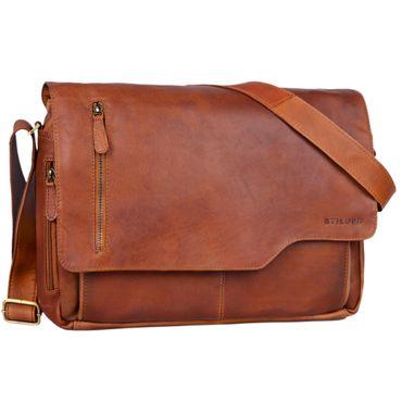 """STILORD """"Marlon"""" Ledertasche Herren Business Uni Büro Vintage Umhängetasche groß DIN A4 mit 15.6 Zoll Laptopfach elegante Aktentasche aus echtem Rinds Leder – Bild 8"""