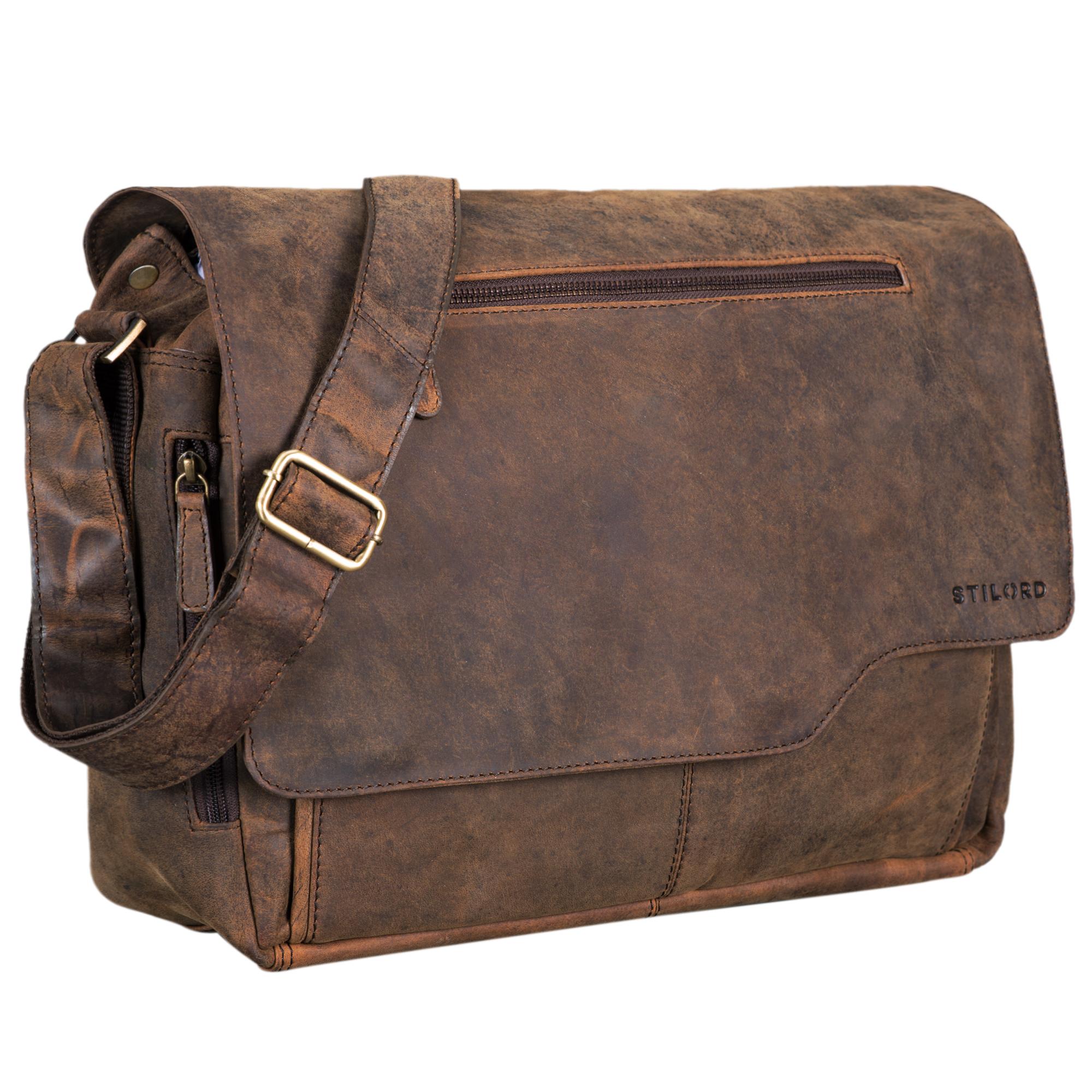 """STILORD """"Marvin"""" Herren Ledertasche Umhängetasche Unisex Bürotasche elegantes Vintage Design 15.6 Zoll Laptoptasche große Unitasche College Bag echtes Leder - Bild 12"""