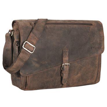 """STILORD """"Merlin"""" Vintage Leder Umhängetasche Damen Herren klassische Aktentasche für Arbeit Büro große Unitasche mit 15.6 Zoll Laptopfach echtes Leder – Bild 10"""