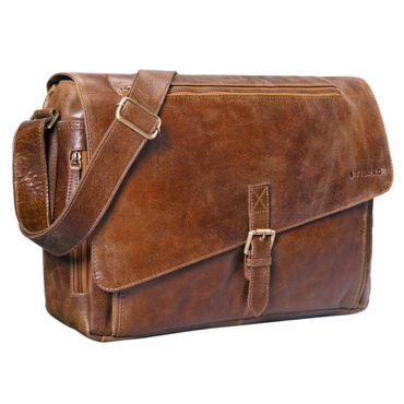 """STILORD """"Merlin"""" Vintage Leder Umhängetasche Damen Herren klassische Aktentasche für Arbeit Büro große Unitasche mit 15.6 Zoll Laptopfach echtes Leder – Bild 12"""