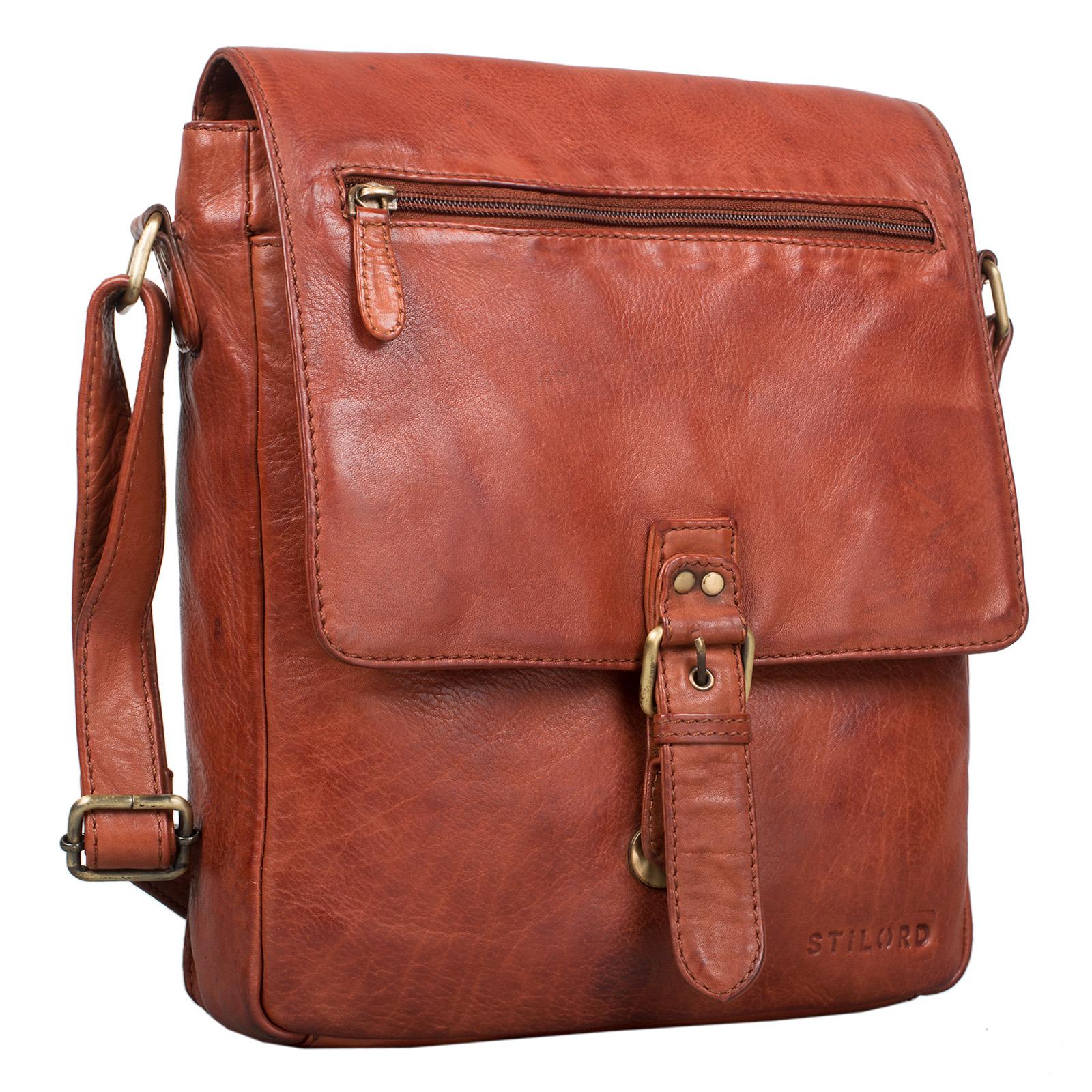 """STILORD """"Jonas"""" Vintage Herrentasche Leder braun Umhängetasche mit Reißverschluss Messenger Bag kleine Kuriertasche für 10,1 Zoll Tablet iPad echtes Leder - Bild 17"""