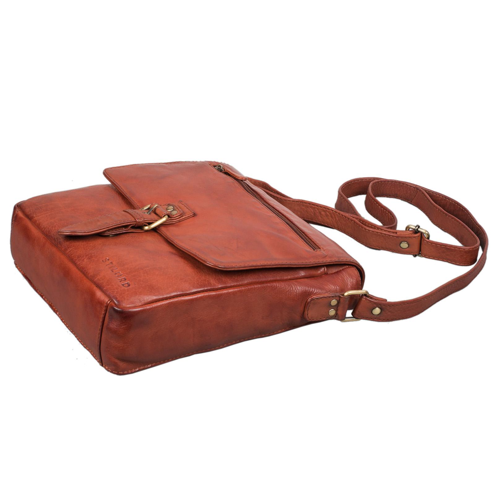 """STILORD """"Jonas"""" Vintage Herrentasche Leder braun Umhängetasche mit Reißverschluss Messenger Bag kleine Kuriertasche für 10,1 Zoll Tablet iPad echtes Leder - Bild 22"""