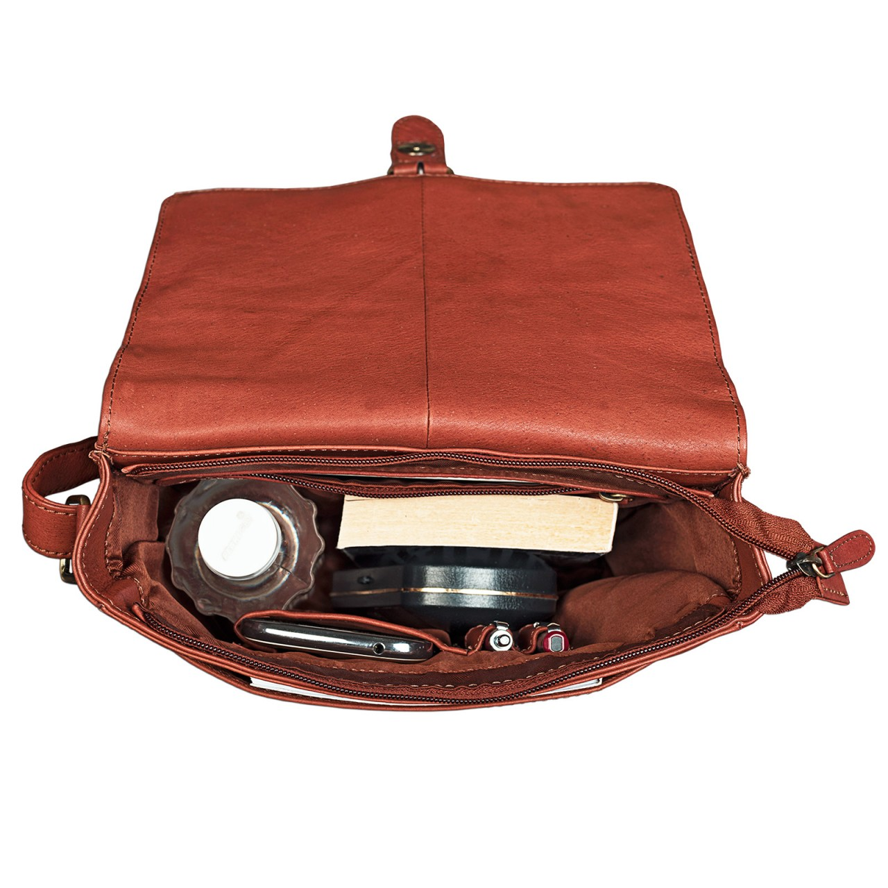 """STILORD """"Jonas"""" Vintage Herrentasche Leder braun Umhängetasche mit Reißverschluss Messenger Bag kleine Kuriertasche für 10,1 Zoll Tablet iPad echtes Leder - Bild 11"""