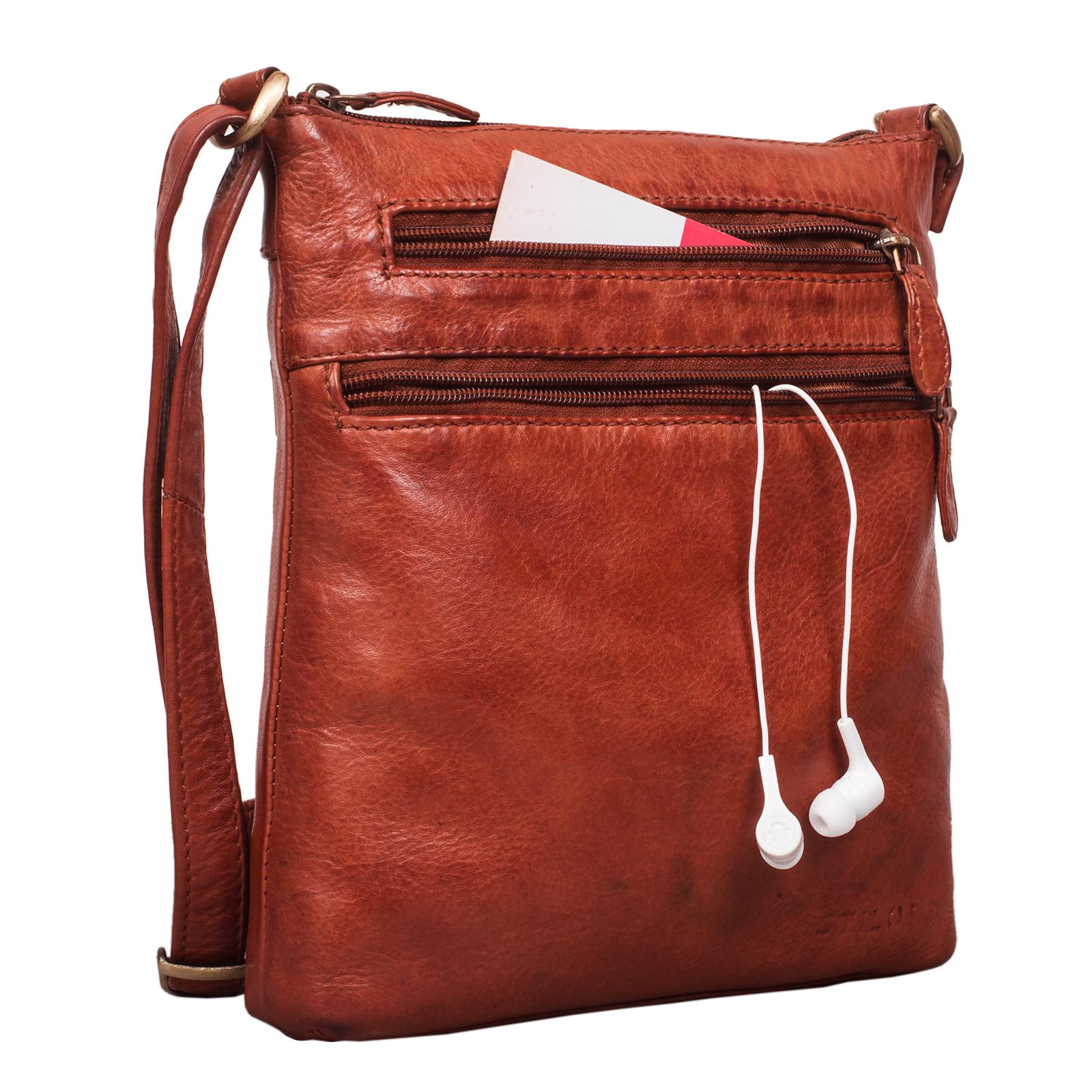 """STILORD """"Juna"""" Damen Umhängetasche Leder braun Handtasche kleine Schultertasche Vintage Damentasche Ausgehtasche für Freizeit Party 9,7 Zoll Tablet iPad Echtleder - Bild 6"""