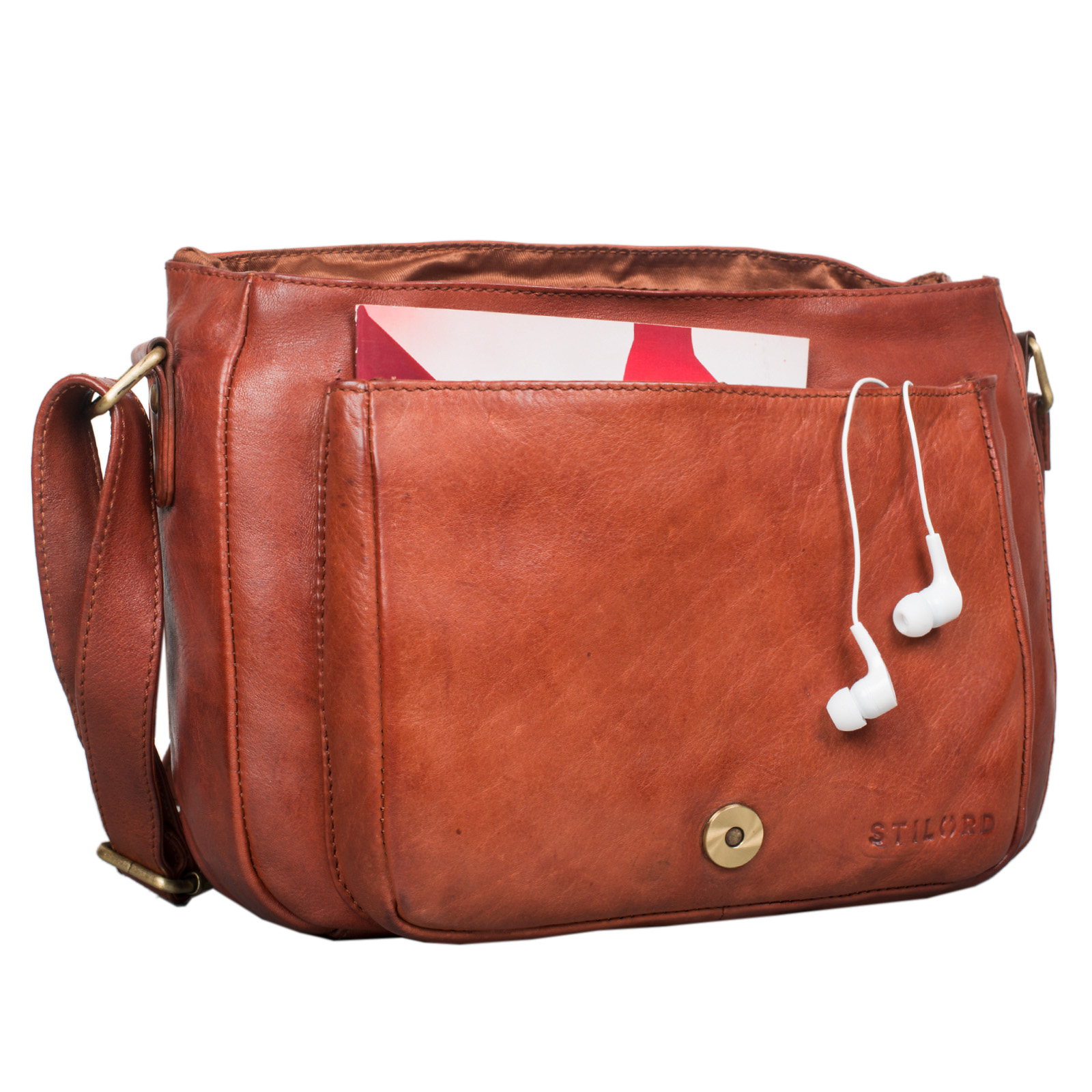 """STILORD """"Lara"""" Vintage Umhängetasche Damen klein Leder Handtasche zum Ausgehen Party Freizeit Umhängetasche Schultertasche 10.1 Zoll Tablettasche echtes Leder - Bild 20"""