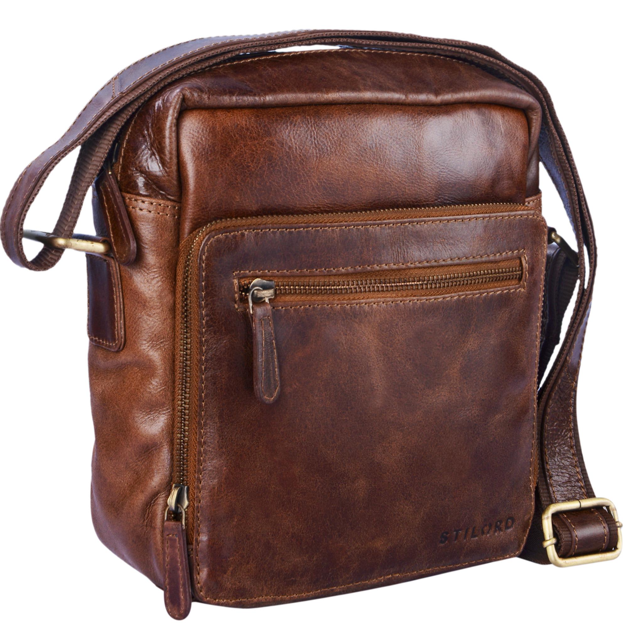 """STILORD """"Nathan"""" Umhängetasche Herren Leder klein braun Vintage Herrentasche 10,1 Zoll Tablettasche für iPad echtes Leder  - Bild 5"""
