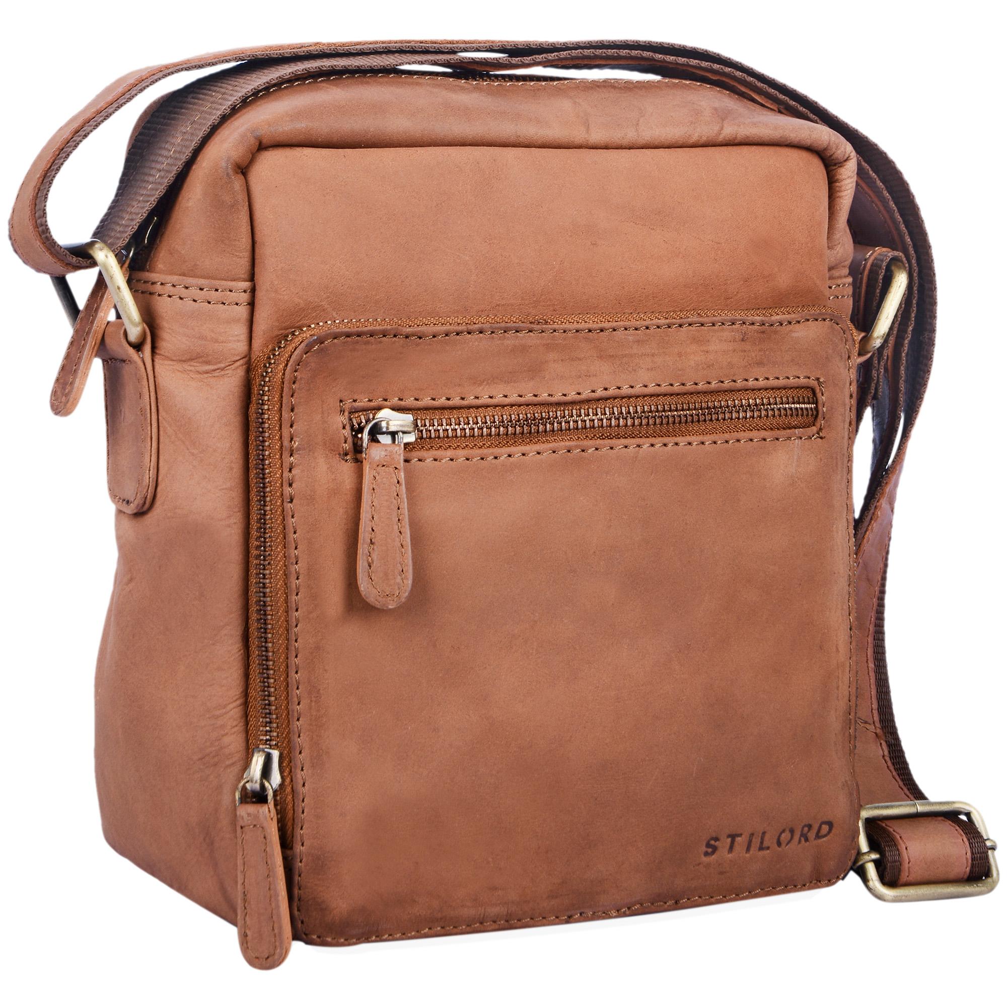 """STILORD """"Nathan"""" Umhängetasche Herren Leder klein braun Vintage Herrentasche 10,1 Zoll Tablettasche für iPad echtes Leder  - Bild 6"""