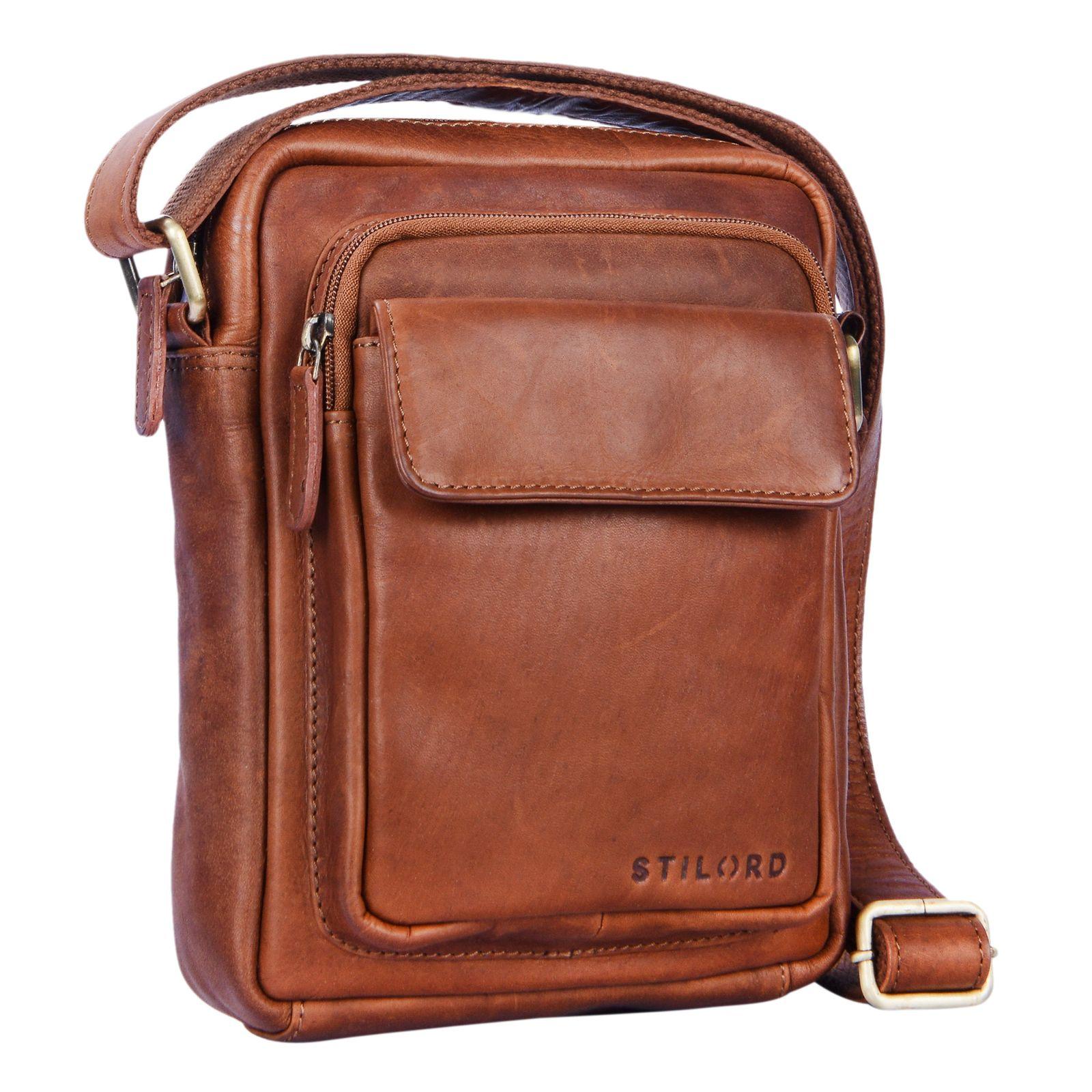 """STILORD """"Jannis"""" Leder Umhängetasche Männer klein Vintage Messenger Bag Herren-Tasche Tablettasche für 9.7 Zoll iPad Schultertasche aus echtem Leder - Bild 2"""