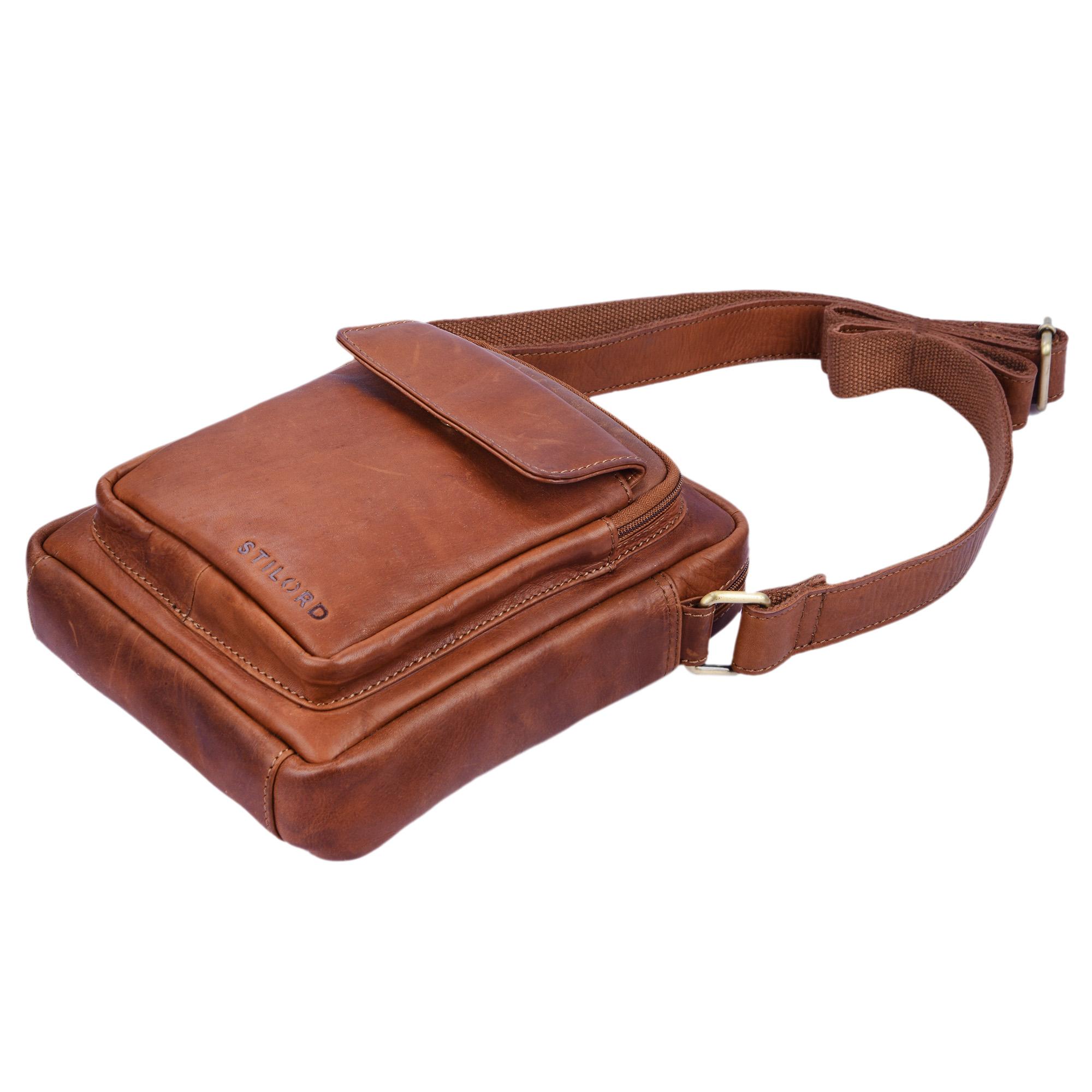 """STILORD """"Jannis"""" Leder Umhängetasche Männer klein Vintage Messenger Bag Herren-Tasche Tablettasche für 9.7 Zoll iPad Schultertasche aus echtem Leder - Bild 7"""