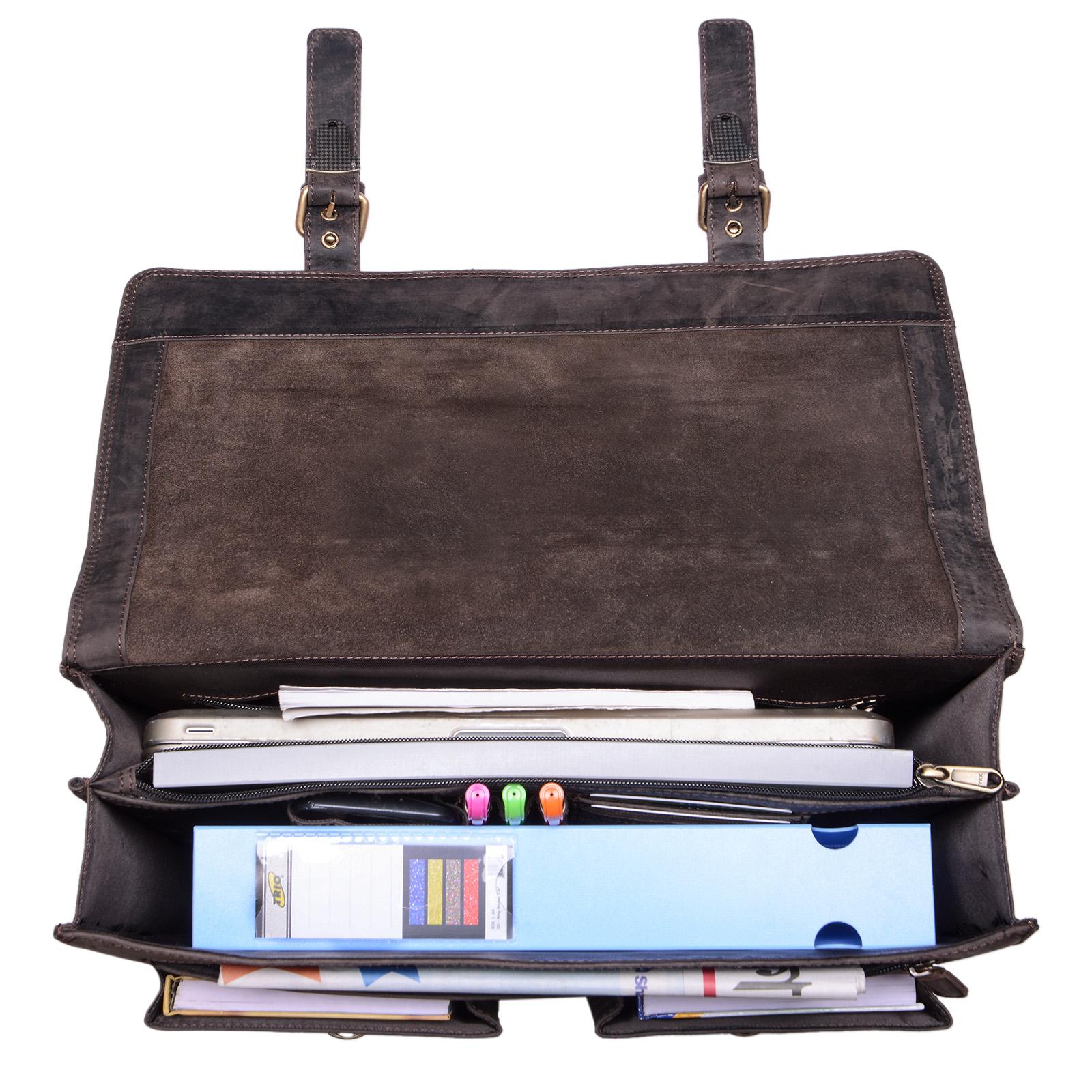 """STILORD B-WARE """"Constantin"""" Vintage Lehrertasche Aktentasche Herren Damen Bürotasche Hauptfach für 15.6 Zoll Laptop Umhängetasche groß Leder - Bild 4"""