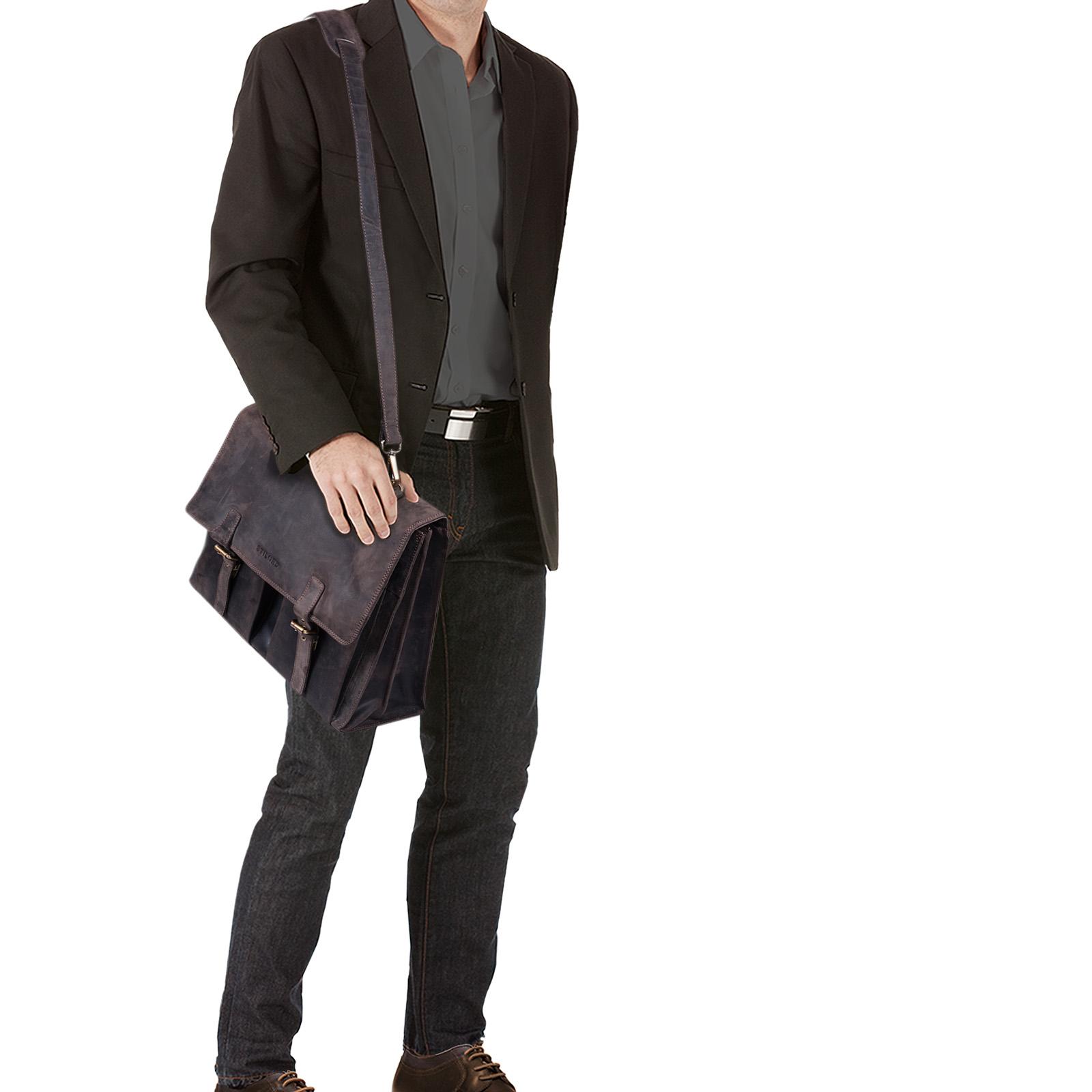 """STILORD B-WARE """"Constantin"""" Vintage Lehrertasche Aktentasche Herren Damen Bürotasche Hauptfach für 15.6 Zoll Laptop Umhängetasche groß Leder - Bild 2"""